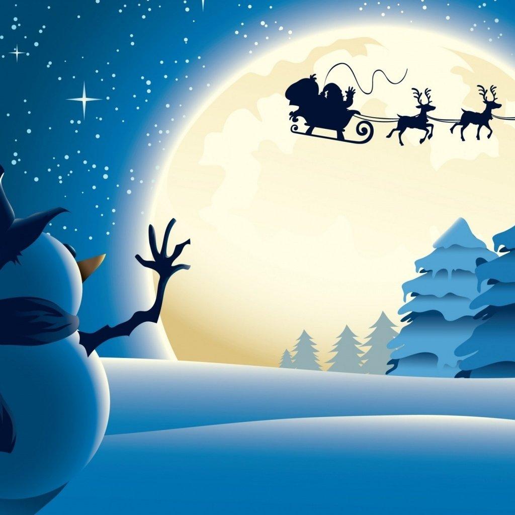 Новогодняя открытка анимация с оленями, выходных
