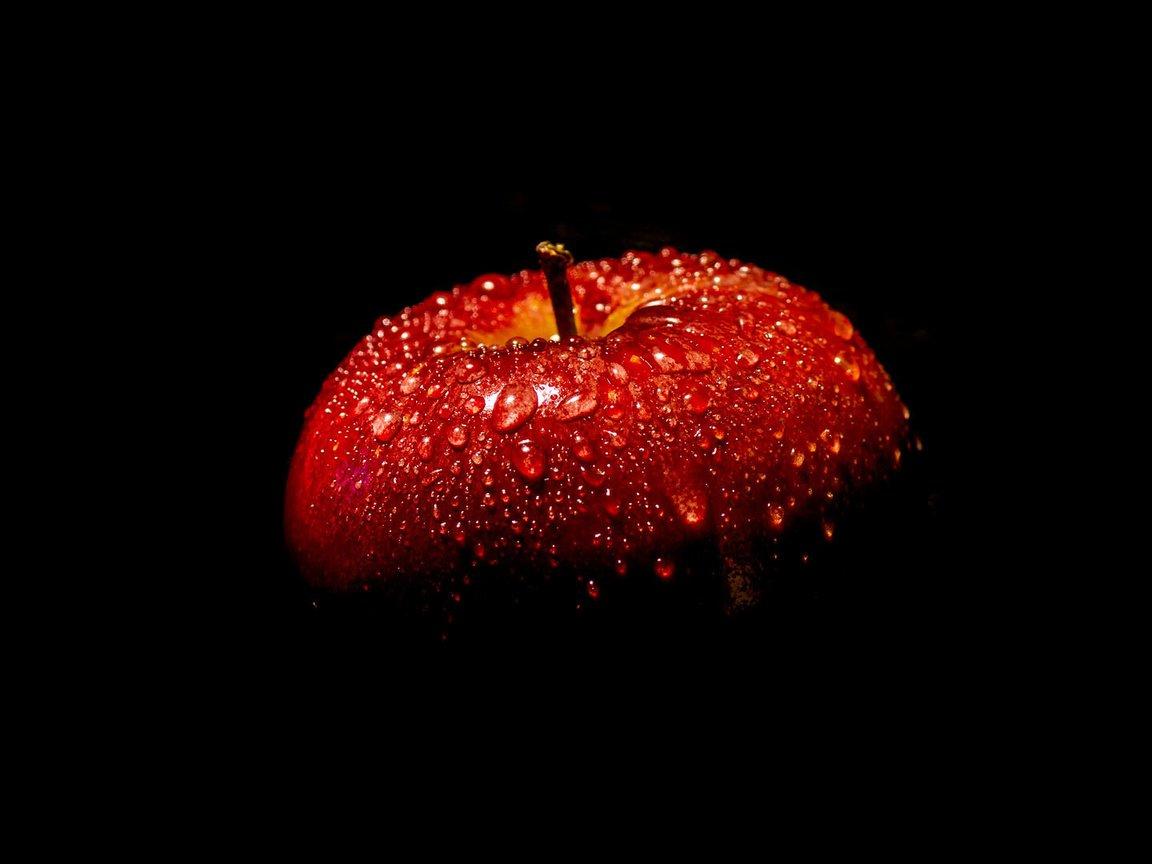 Обои яблоко, темный фон, apple. HI-Tech foto 15