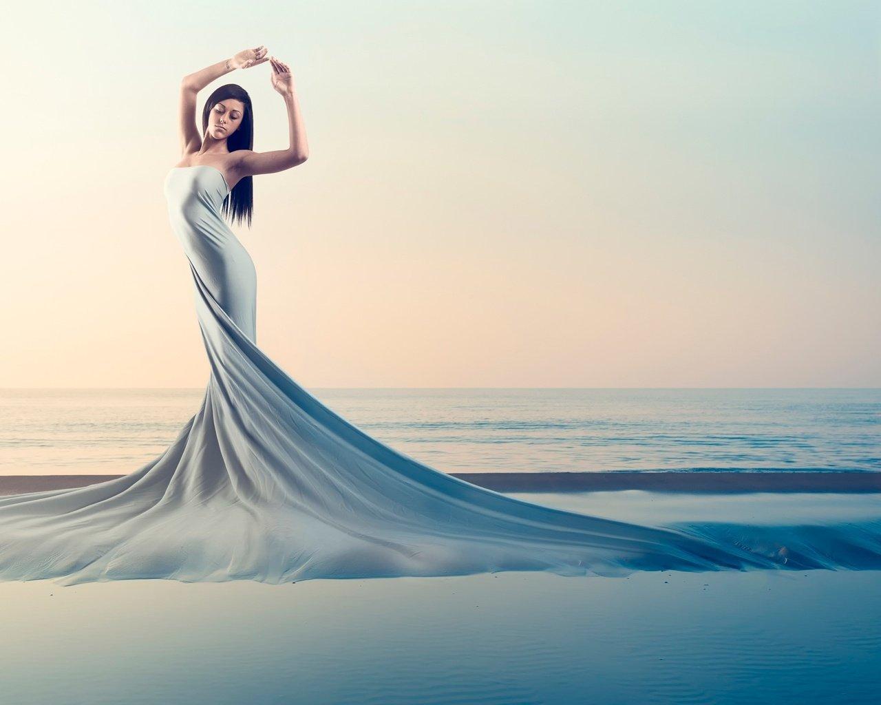 Идеи фото на море в платье