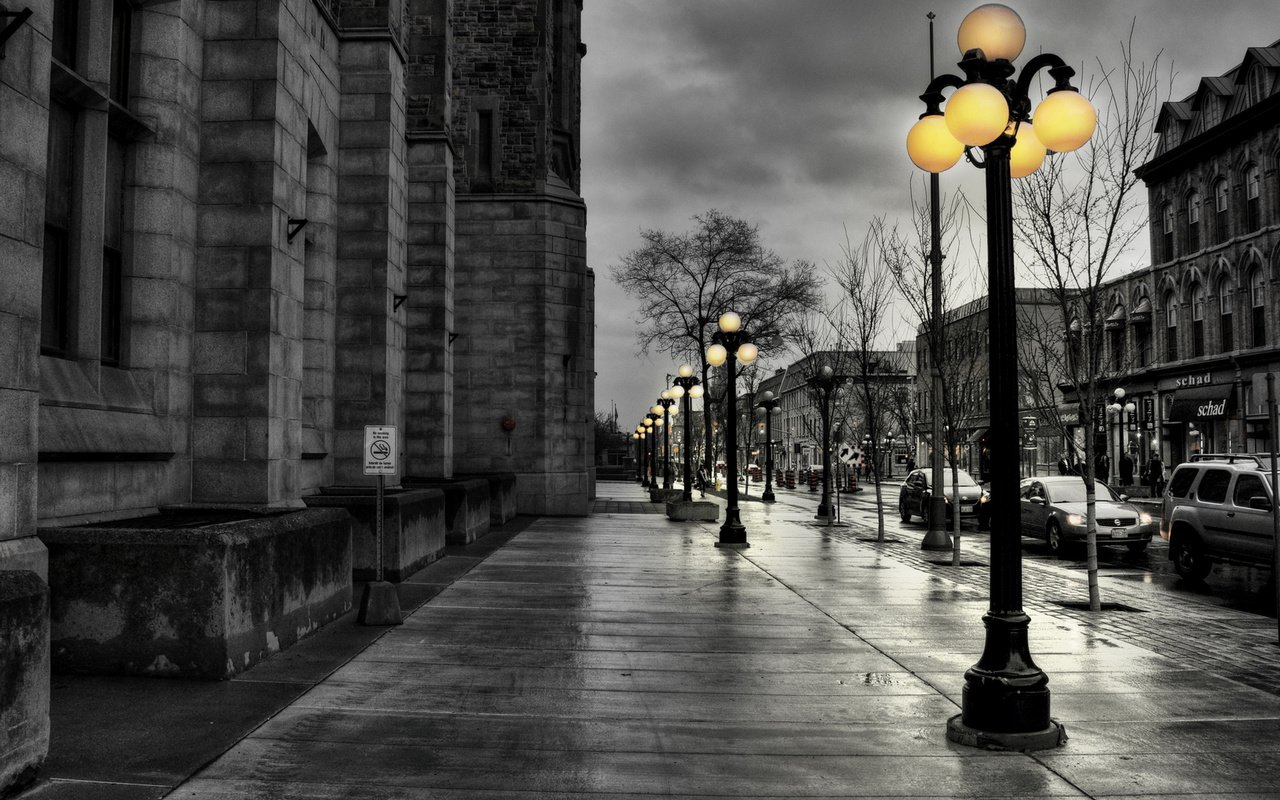 Обои дорога, улица, фонарь, пасмурно, после дождя, road, street, lantern, overcast, after the rain разрешение 1920x1080 Загрузить