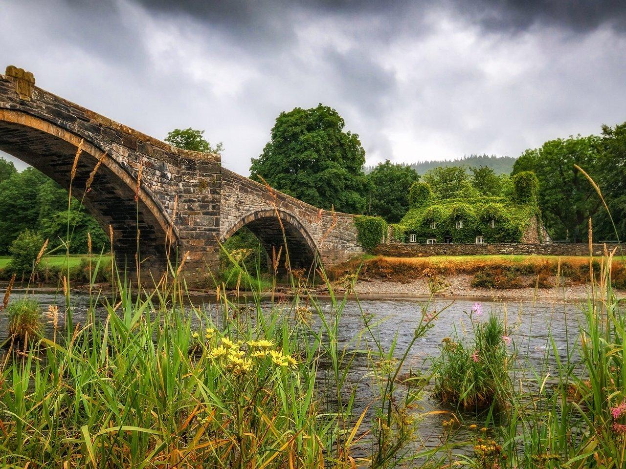 капитального картинки три дома река мост деревья перерывах елена