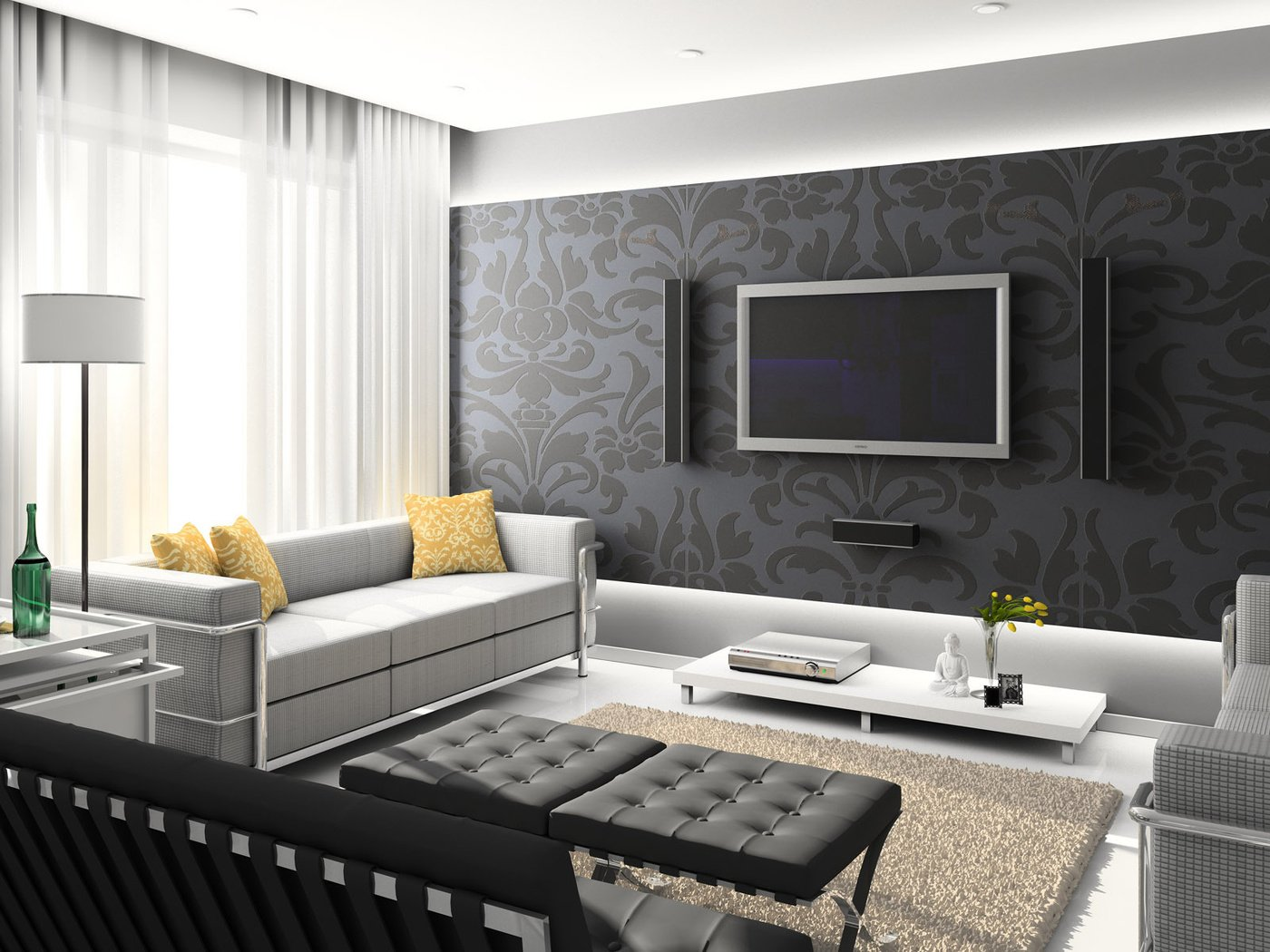 Темные обои с цветами в интерьере гостиной фото