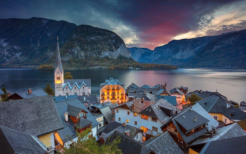 Обои австрия, дома, альпы, гальштат, hallstatt, austria. Города foto 17