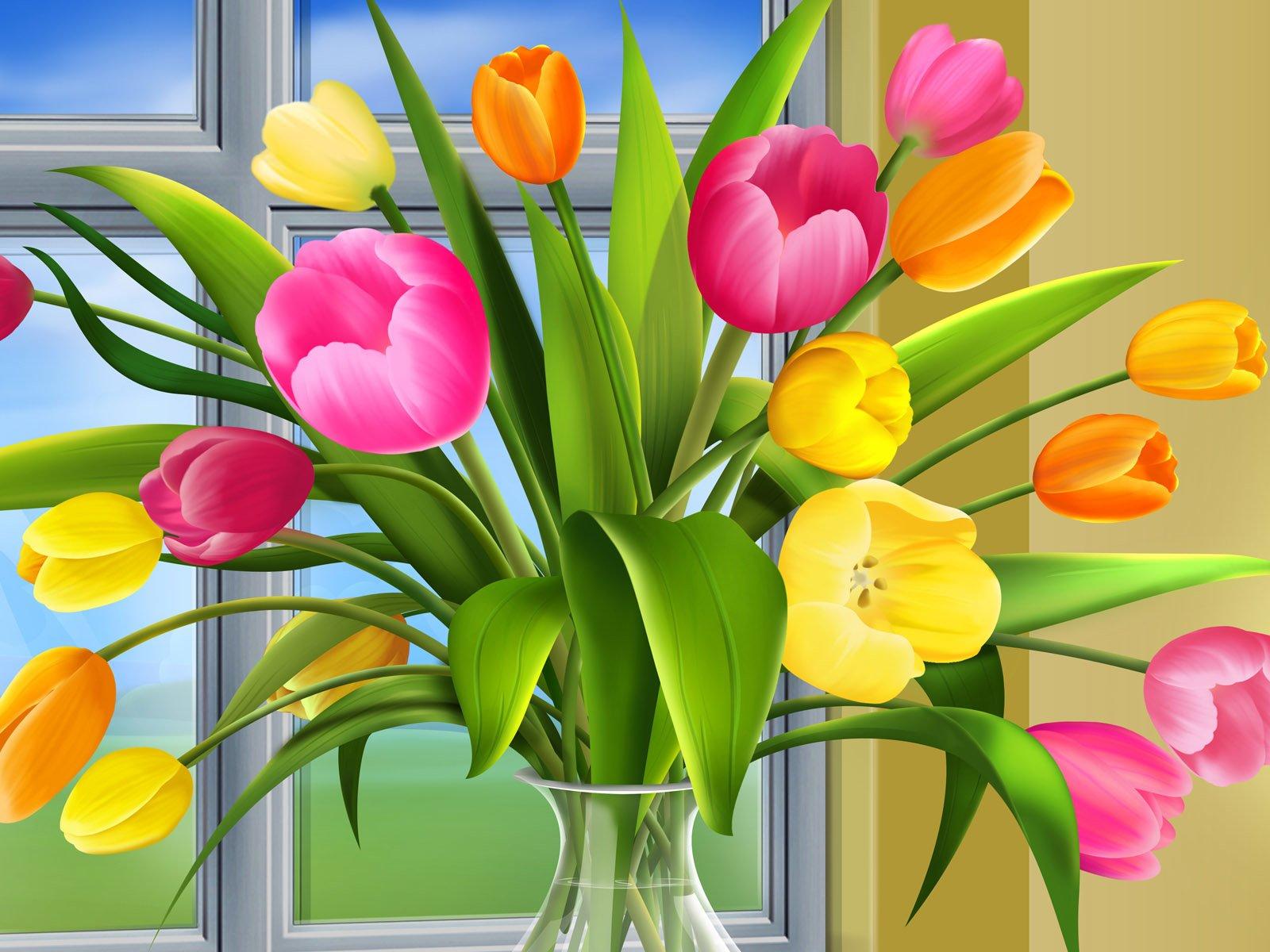 Казанской, с весной открытка с тюльпанами