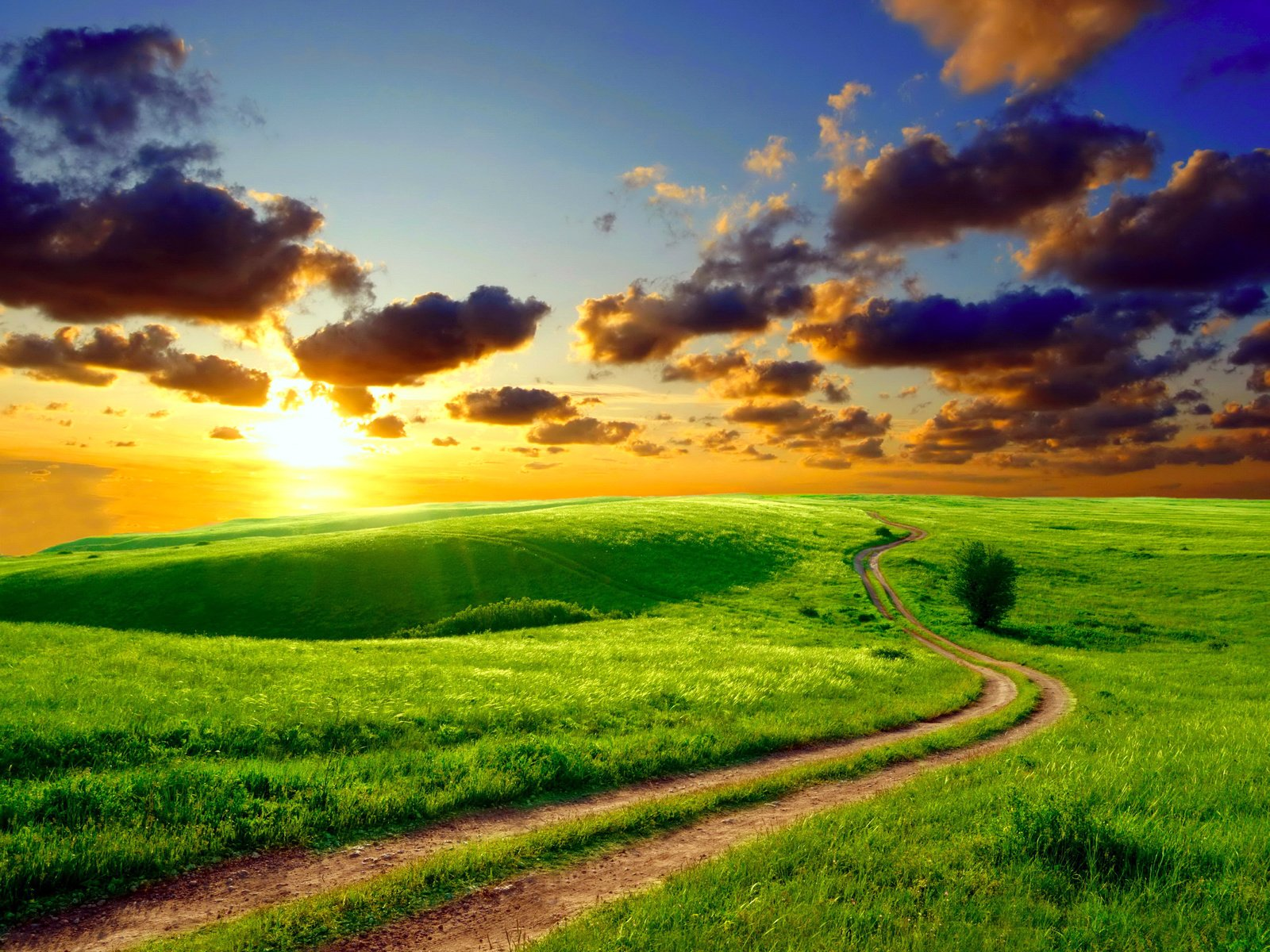 дорога поле закат облака небо бесплатно