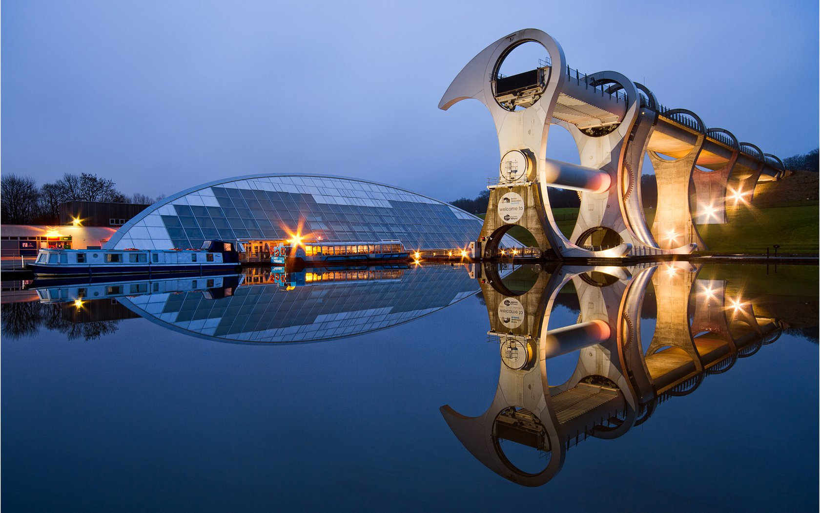 Обои отражение, шотландия, фолкеркское колесо, reflection, scotland, falkirk wheel разрешение 2500x1667 Загрузить