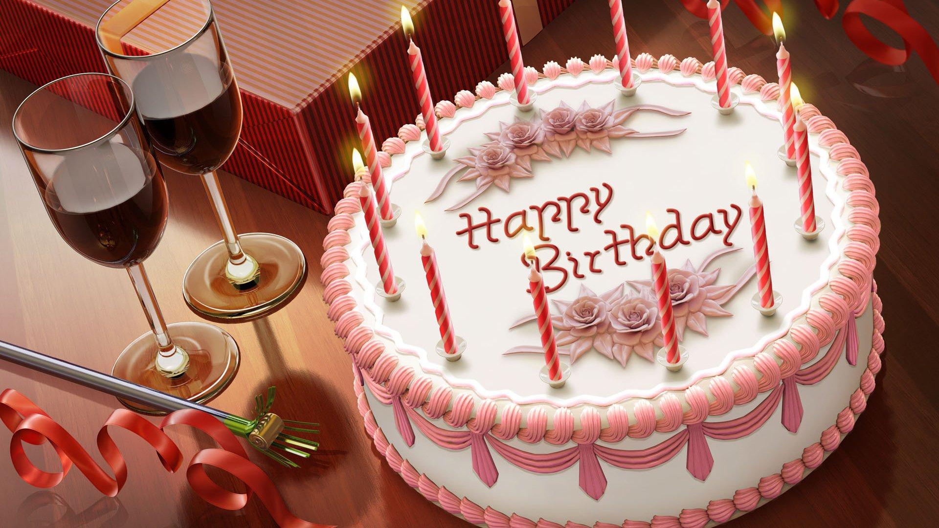 Поздравление с днем рождения с тортом