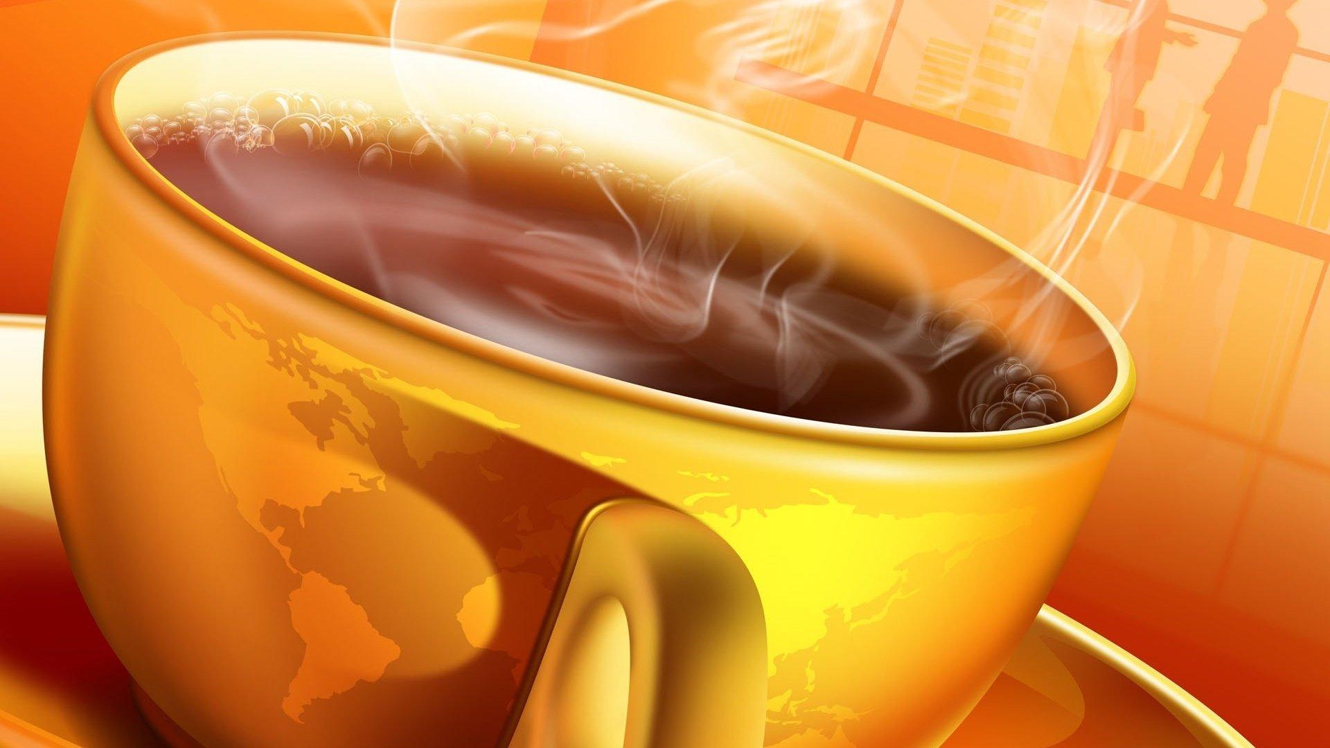 чашечка кофе с утра на телефон