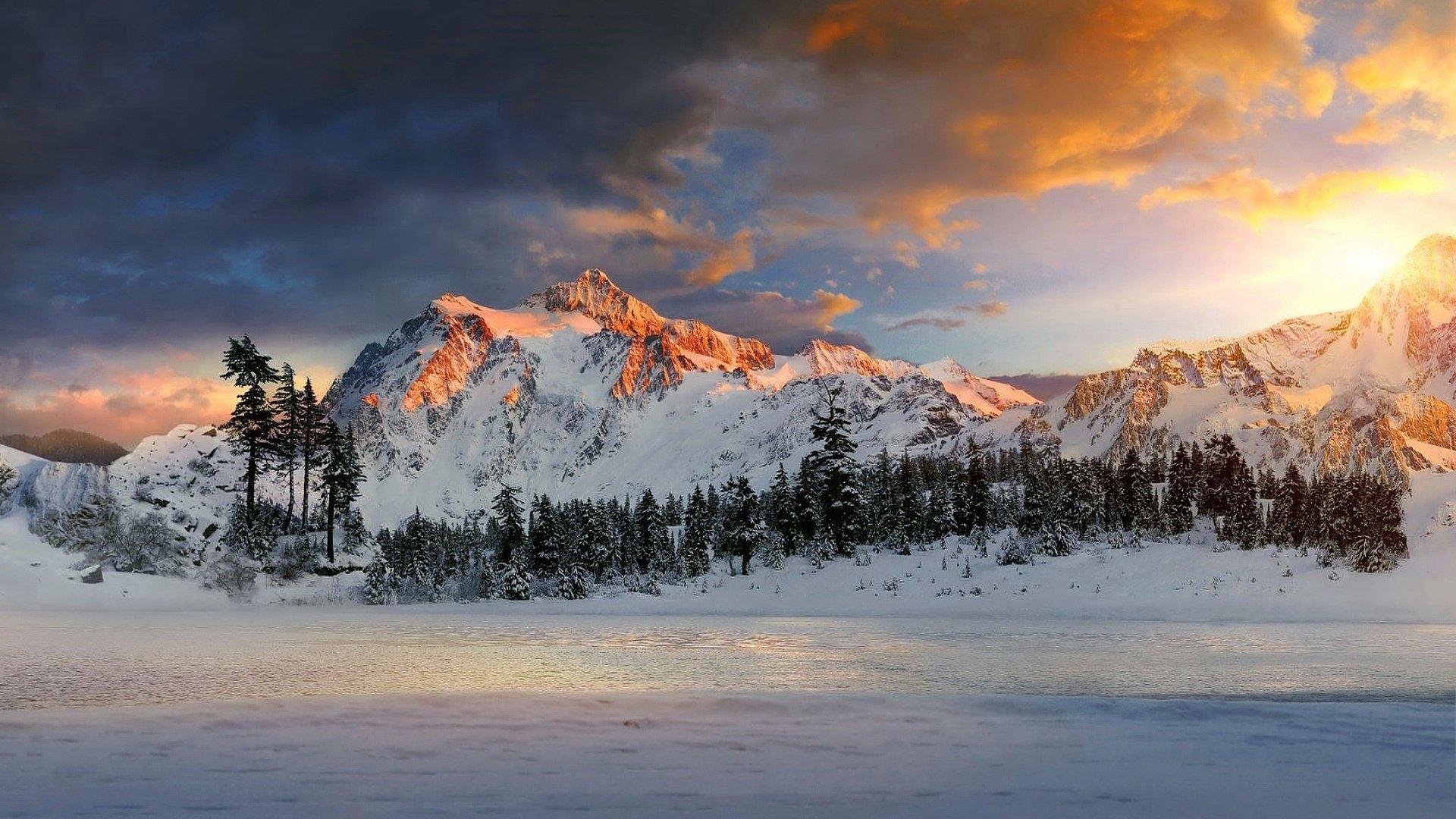 зима горы озеро деревья онлайн
