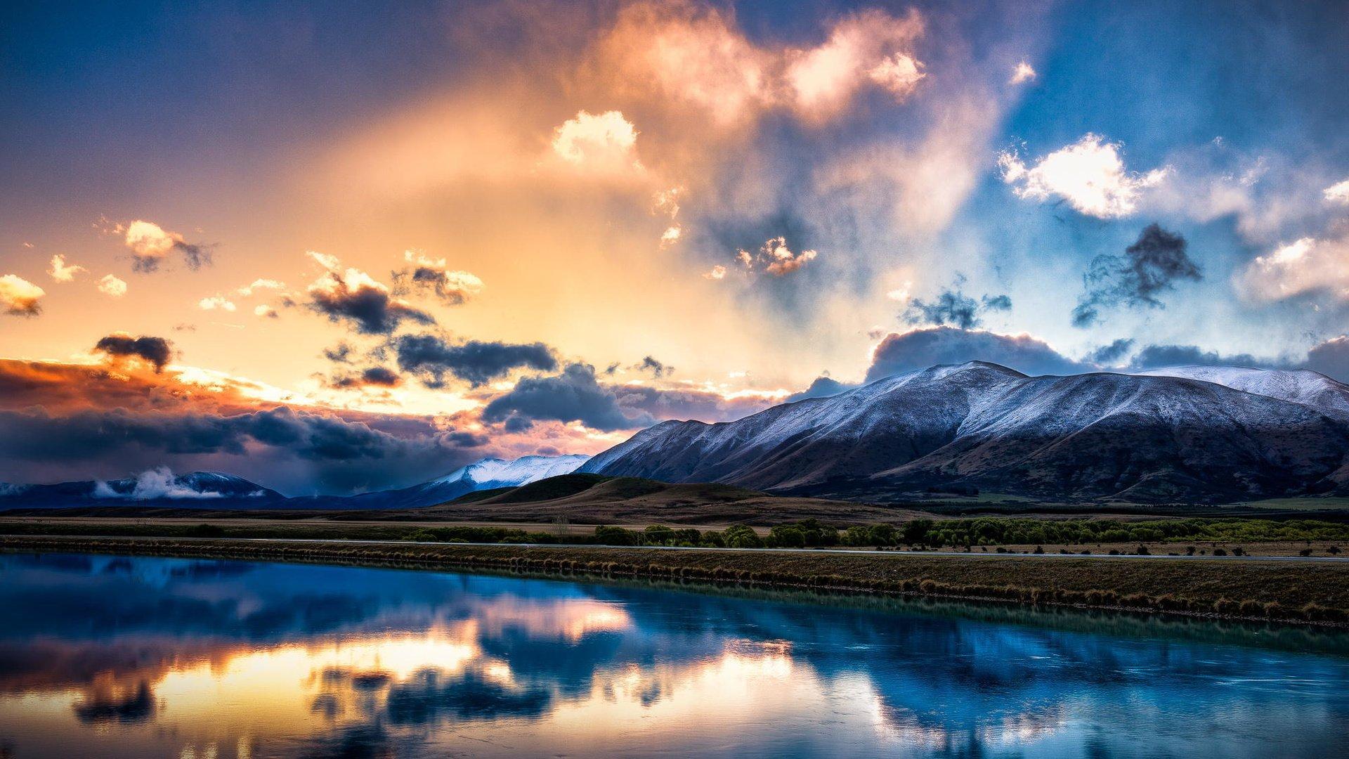 горы отражение небо облака загрузить