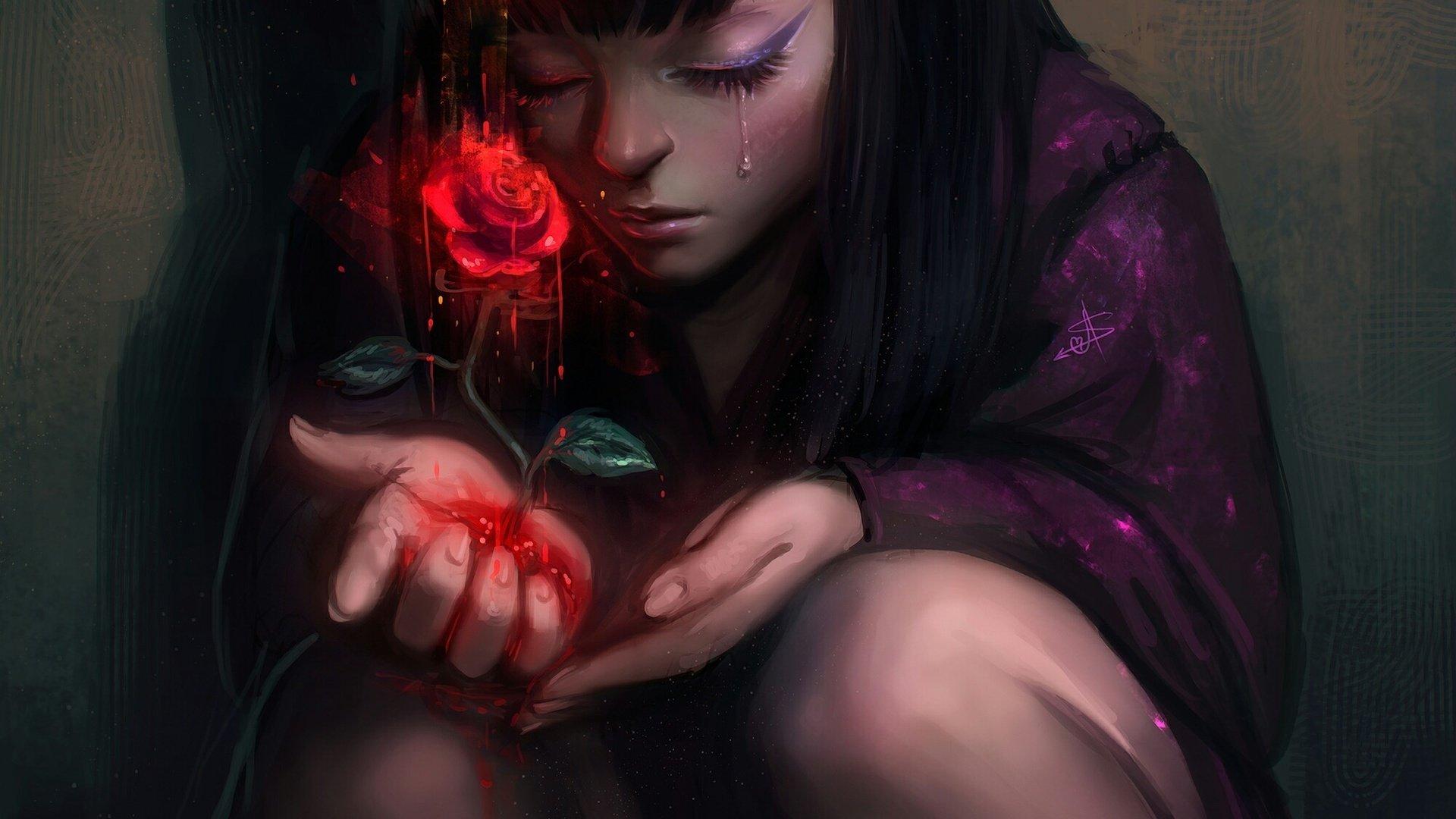Картинки девушек с кровью на аву