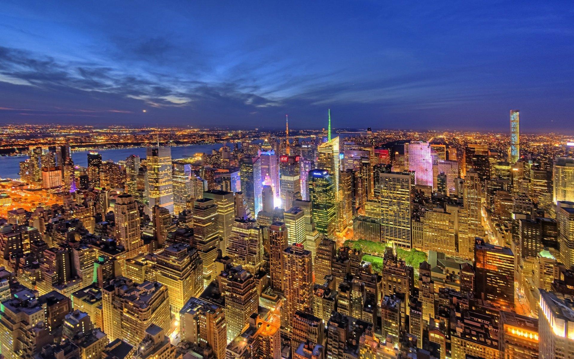Обои manhattan, new york, здания, ночь, небоскребы. Города foto 13