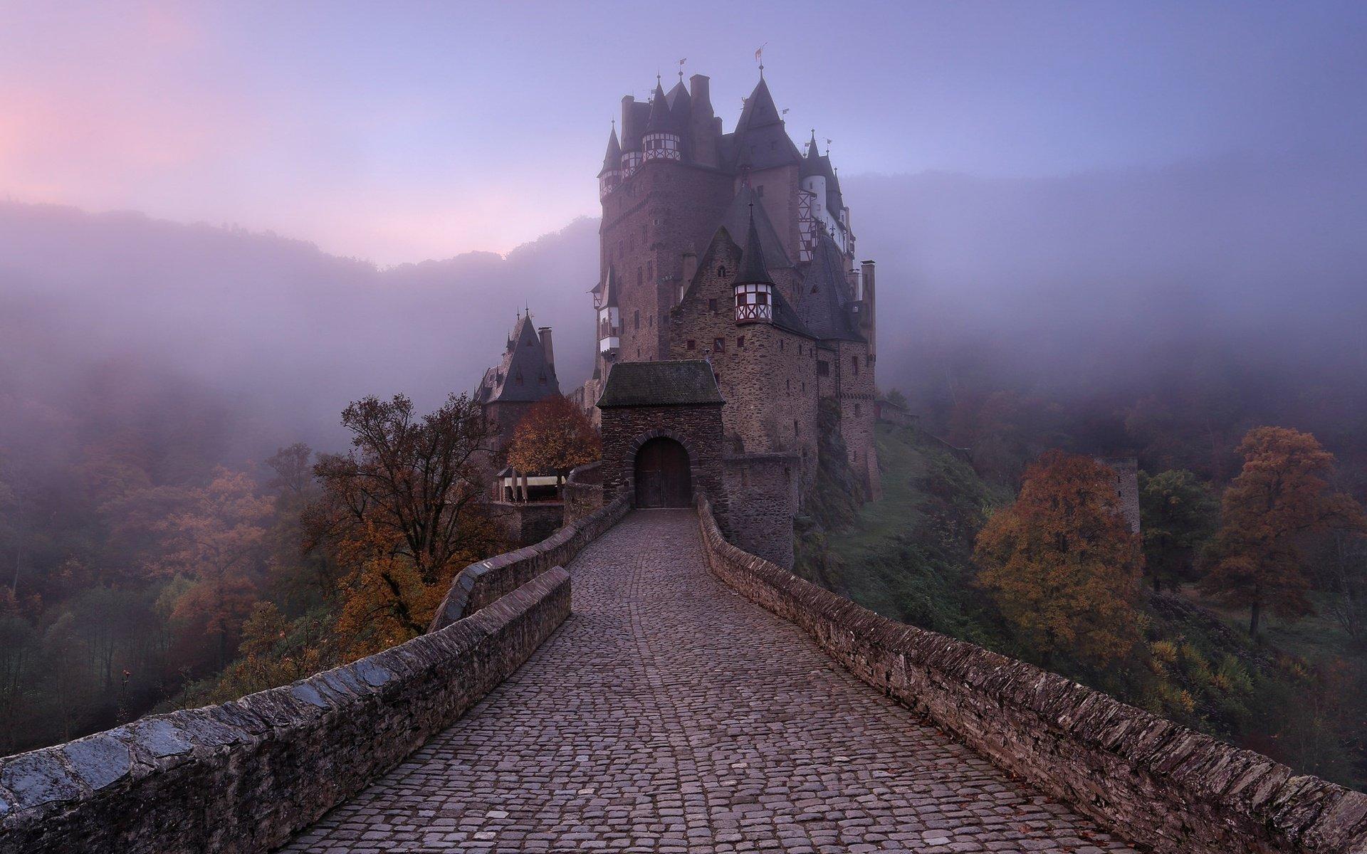 Обои trees, германия, замок, fog, туман, Germany. Природа foto 16
