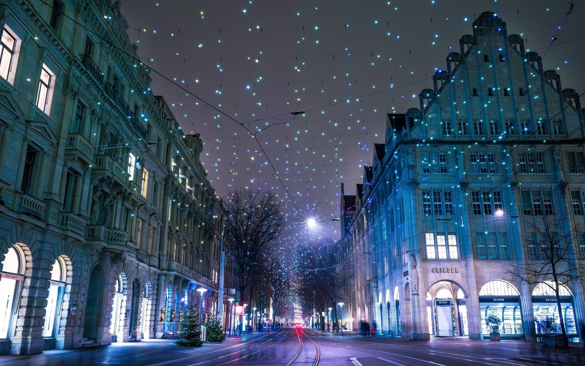 Картинки город зима ночь кисти