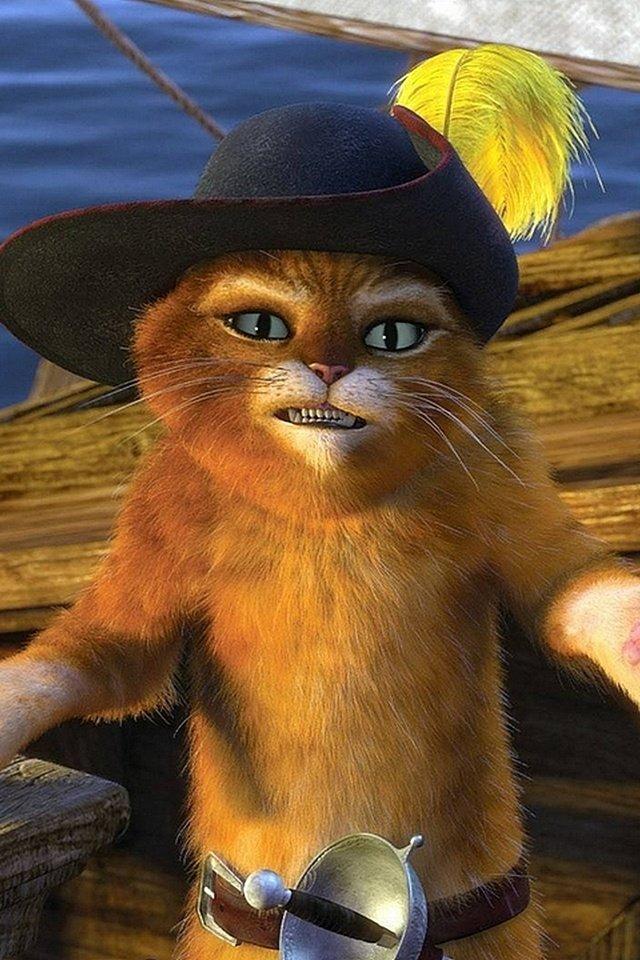 Картинка кот в сапогах с глазками для