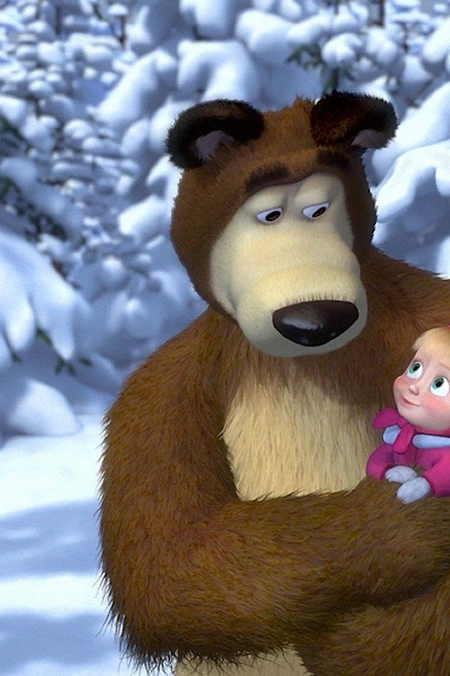 Новый год, анимационные открытки маша и медведь