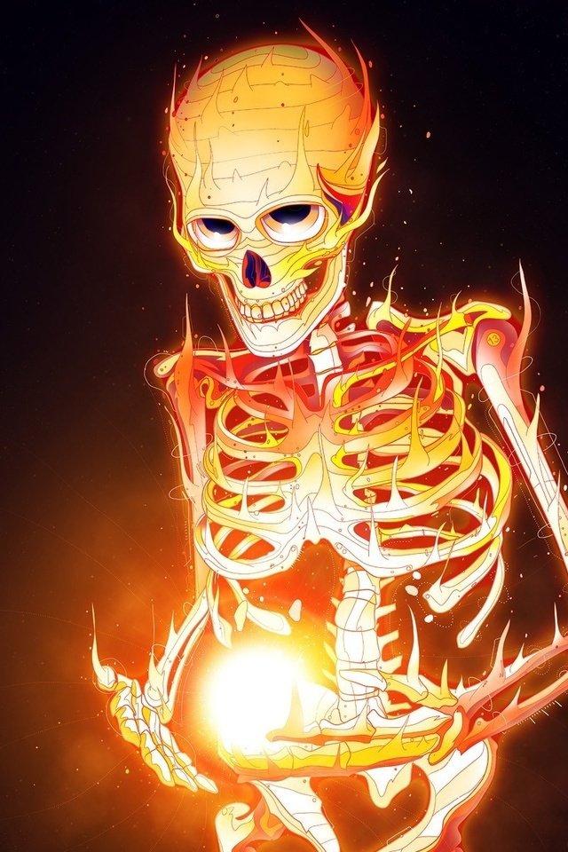 огненные картинки скелет наедине