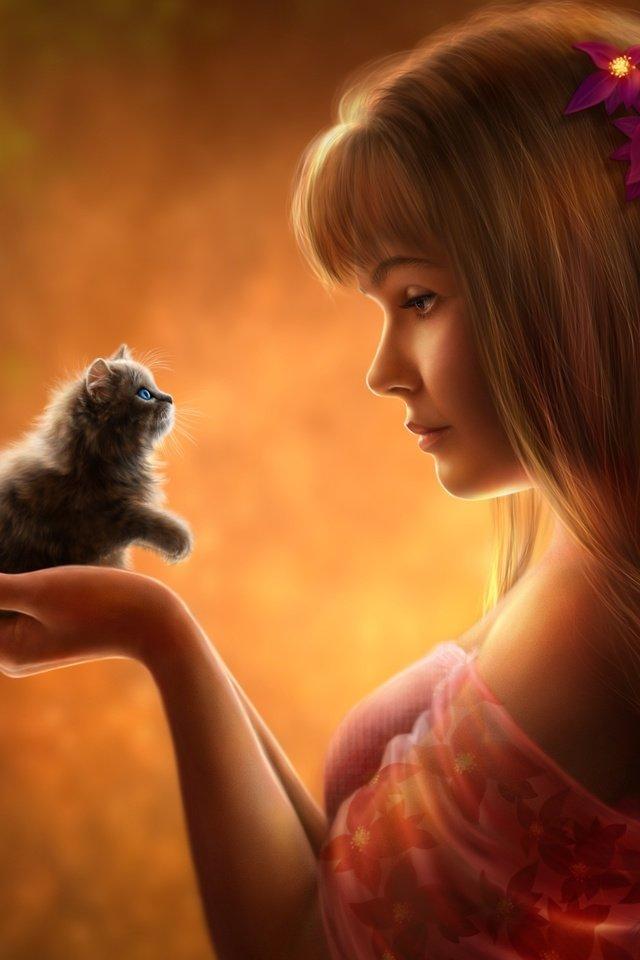 Открытка девушка кошка, картинки днем рождения