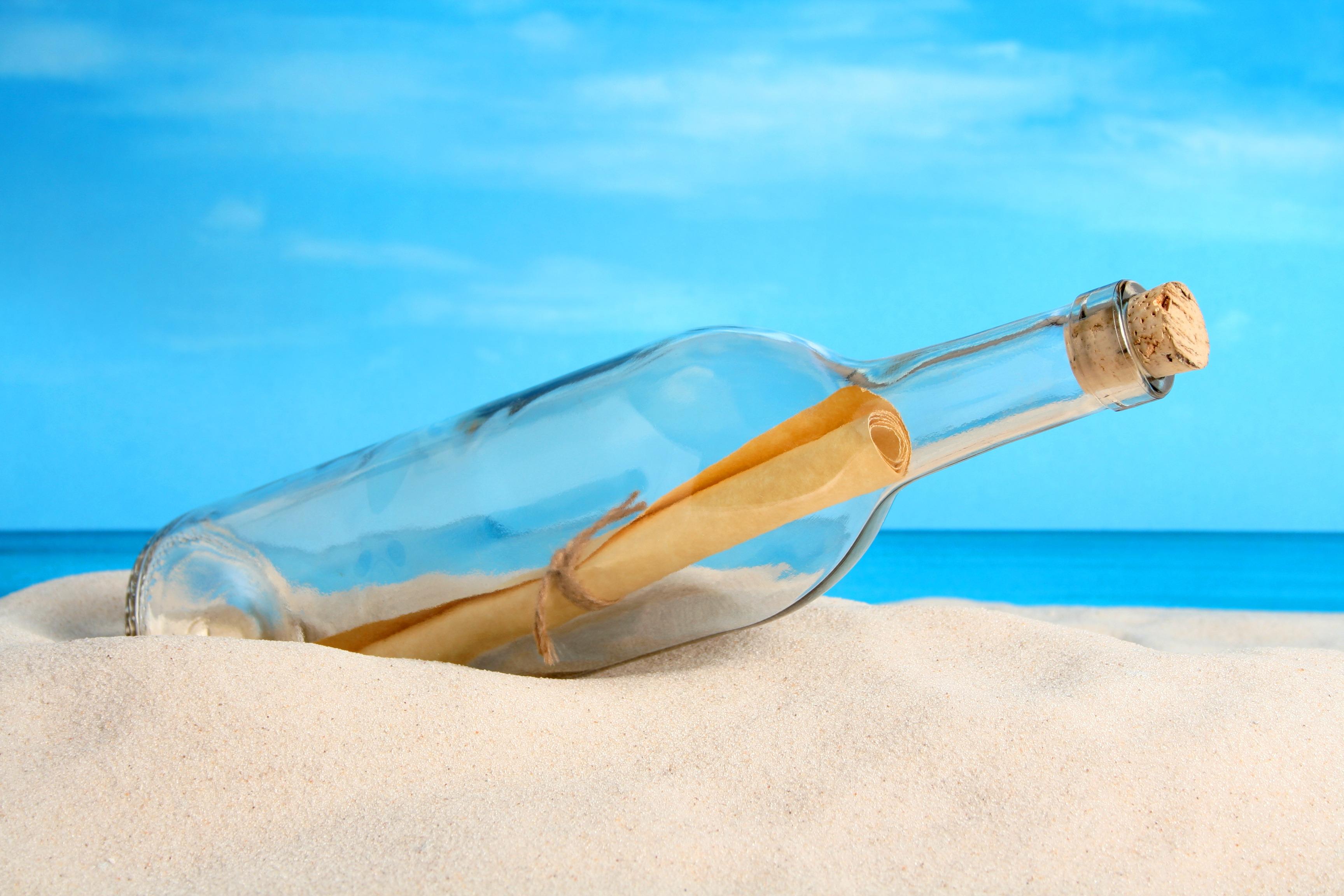 Открытки послание в бутылке, дизайна