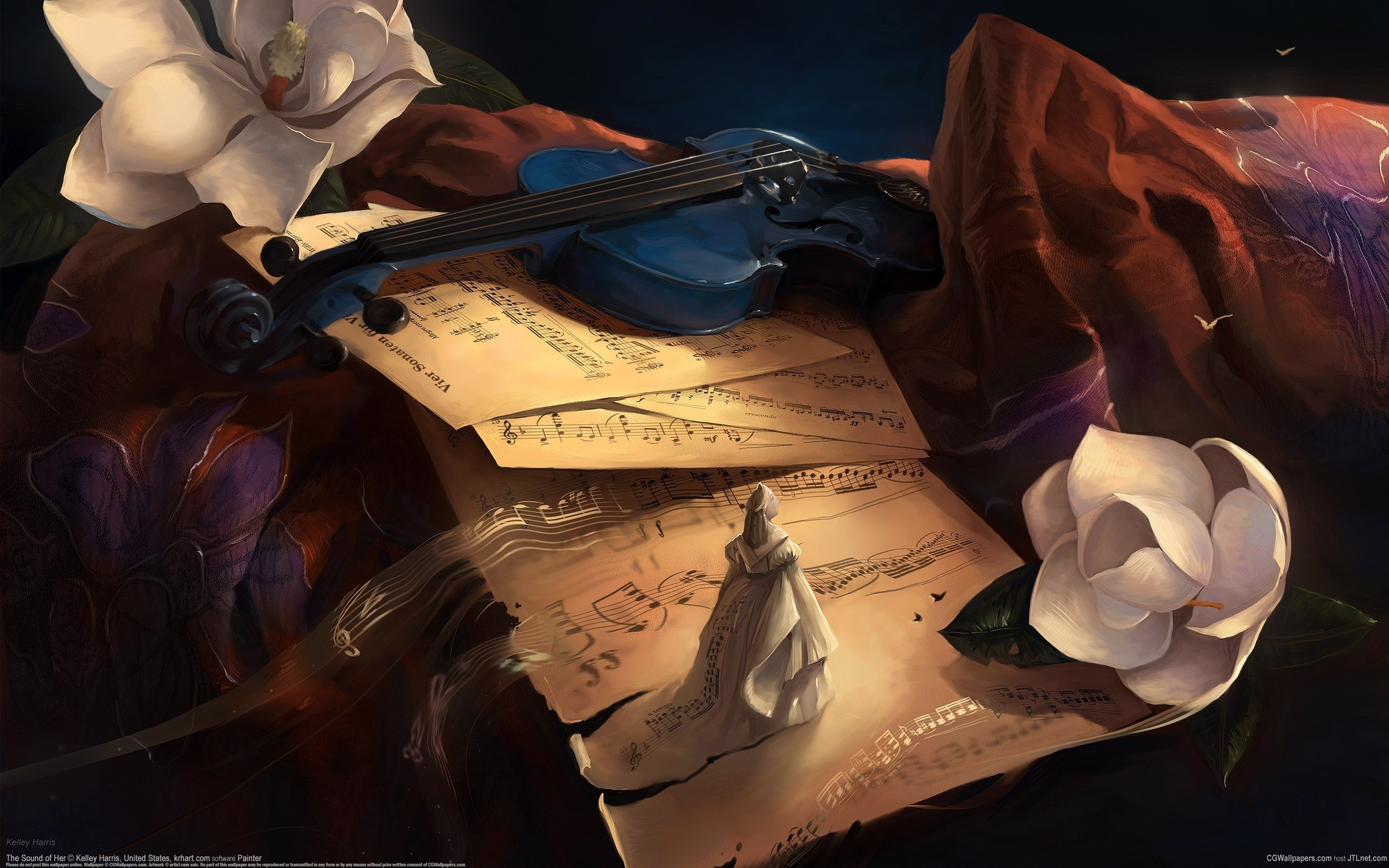 Девушка со скрипкой абстракция  № 2052260 бесплатно