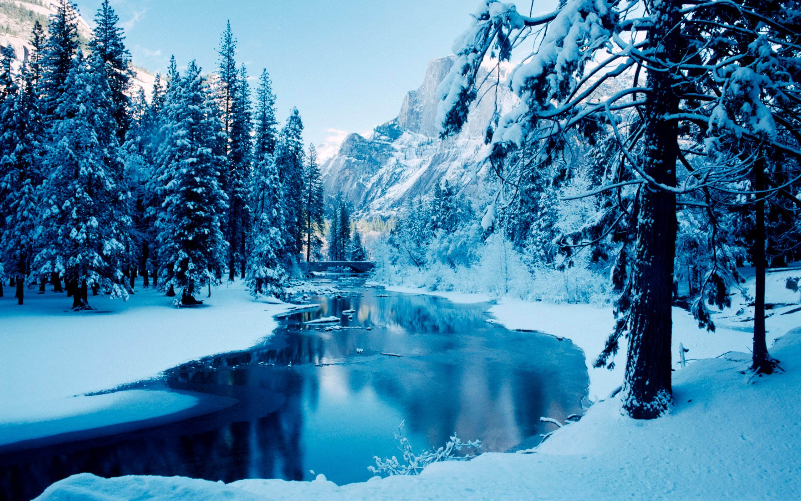 природа горы зима деревья снег скачать