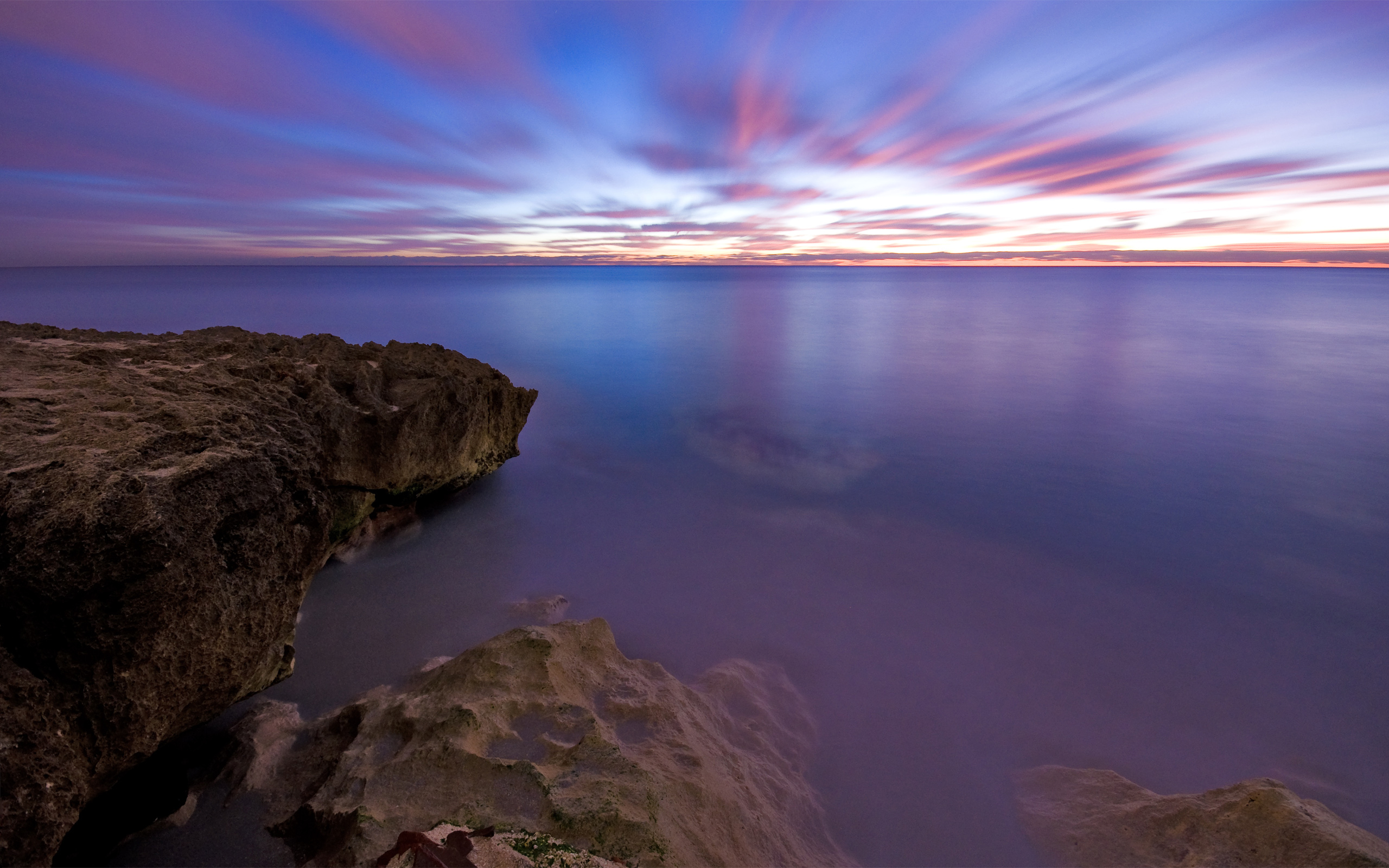 природа скалы море солнце облака отражение скачать