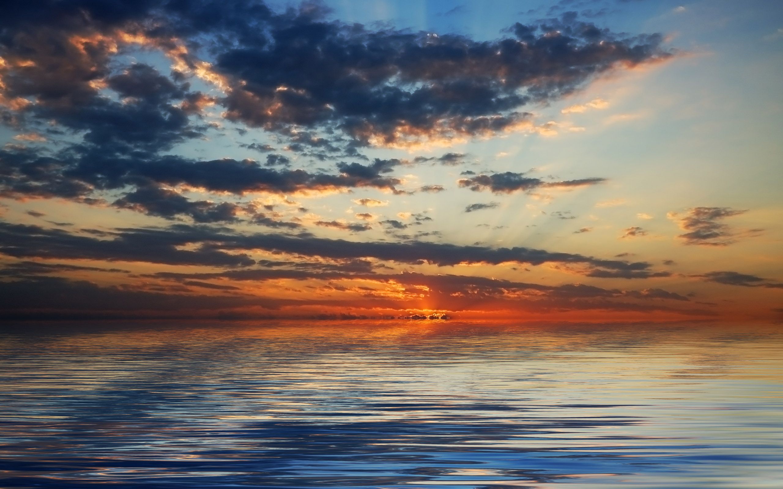 природа море солнце горизонт небо облака  № 717683 загрузить