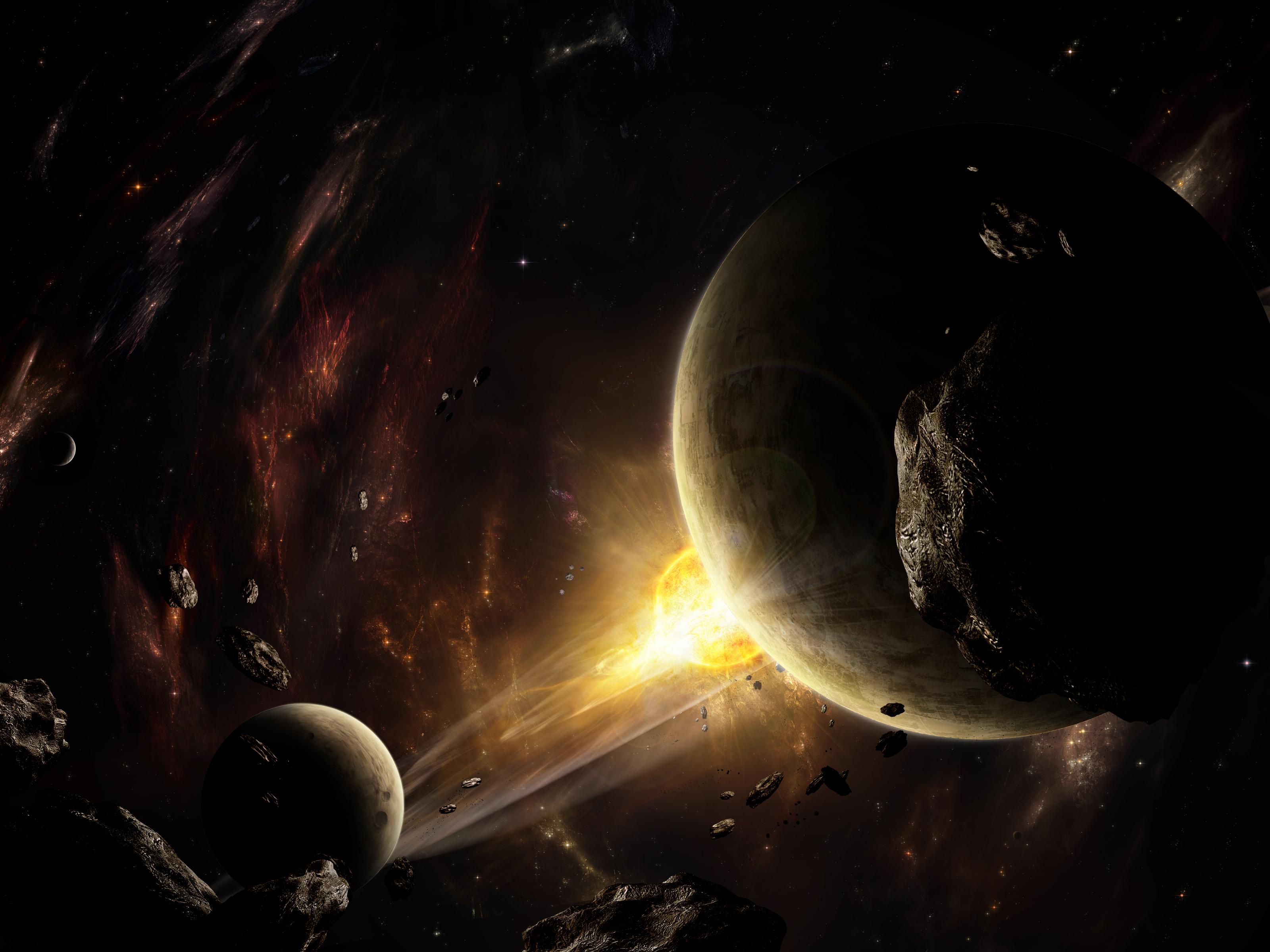 Обои планета космос комета свечение картинки на рабочий ...