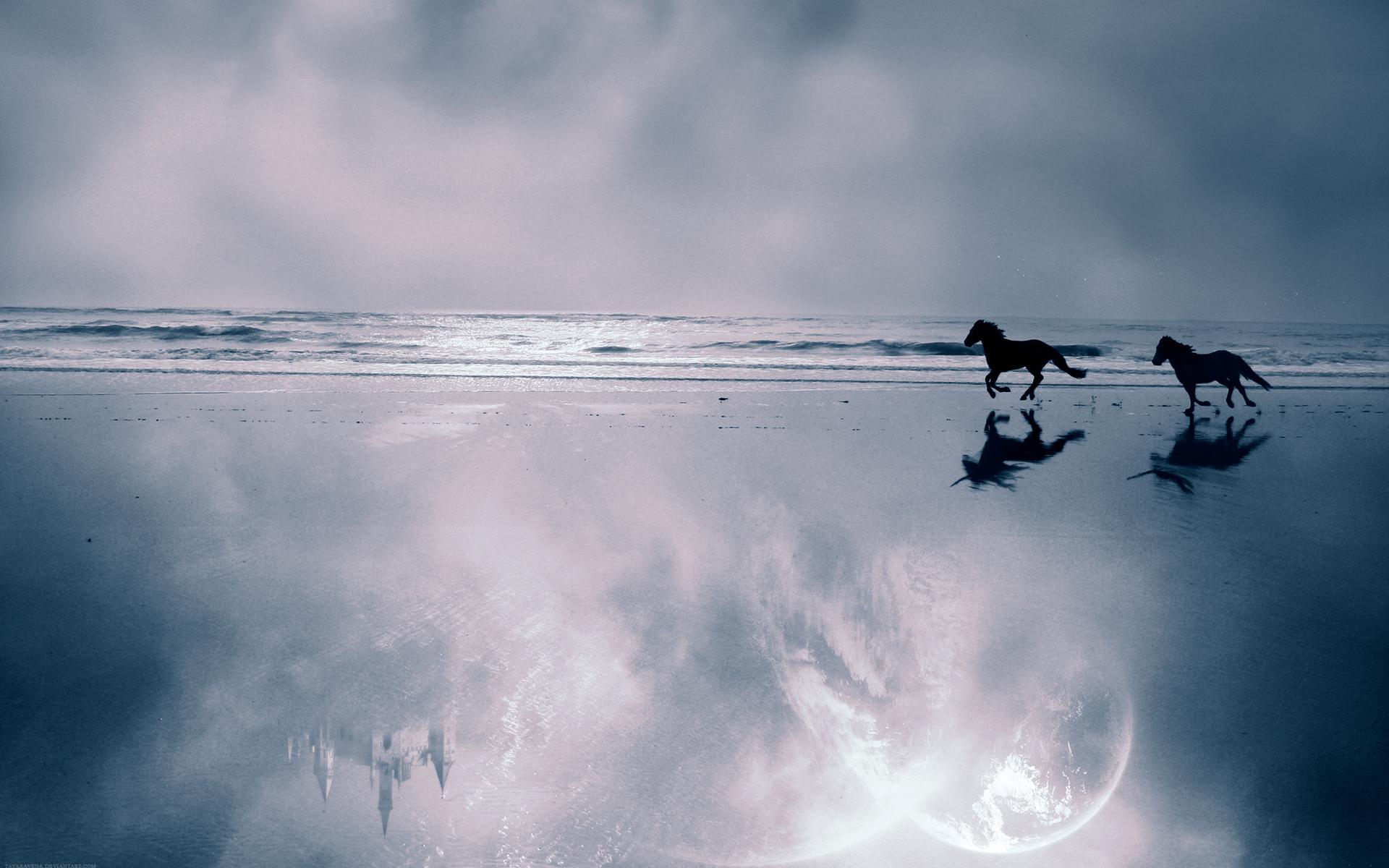 природа берег море гора скала лошадь наездник загрузить