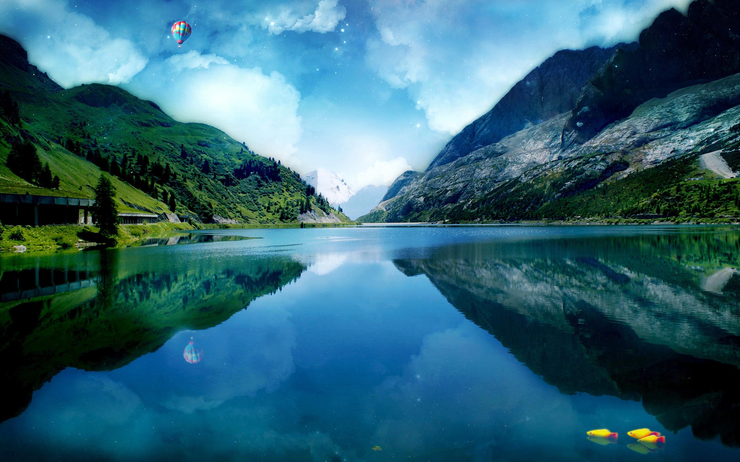 природа озеро отражение горы архитектура без смс