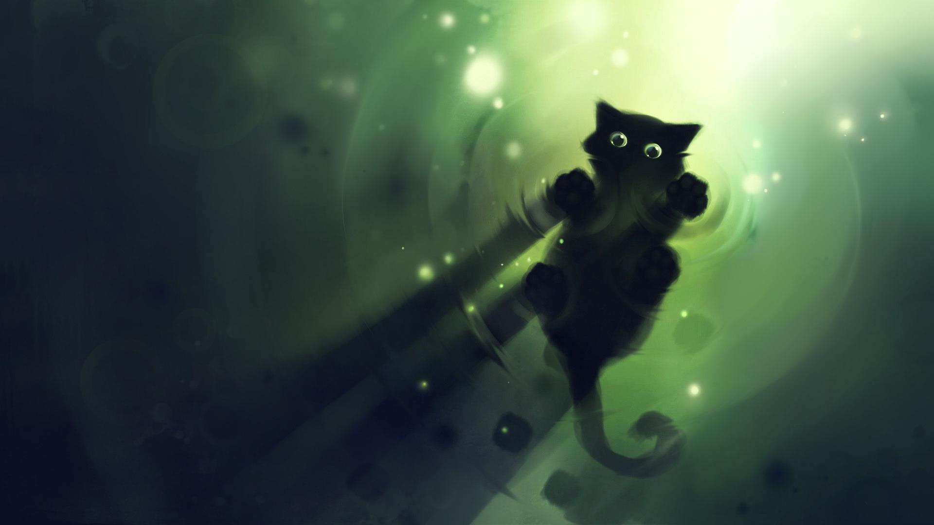 нарисованная кошка обои на рабочий стол № 1412669  скачать