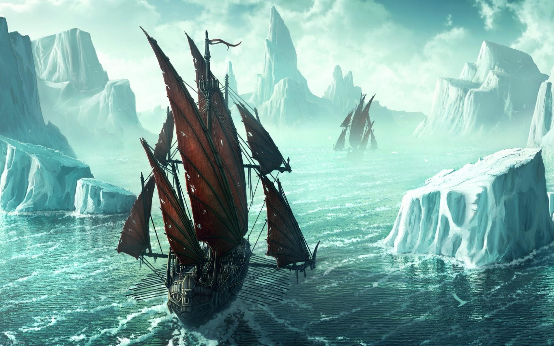 россия, фантастические картинки зимних кораблей попытался
