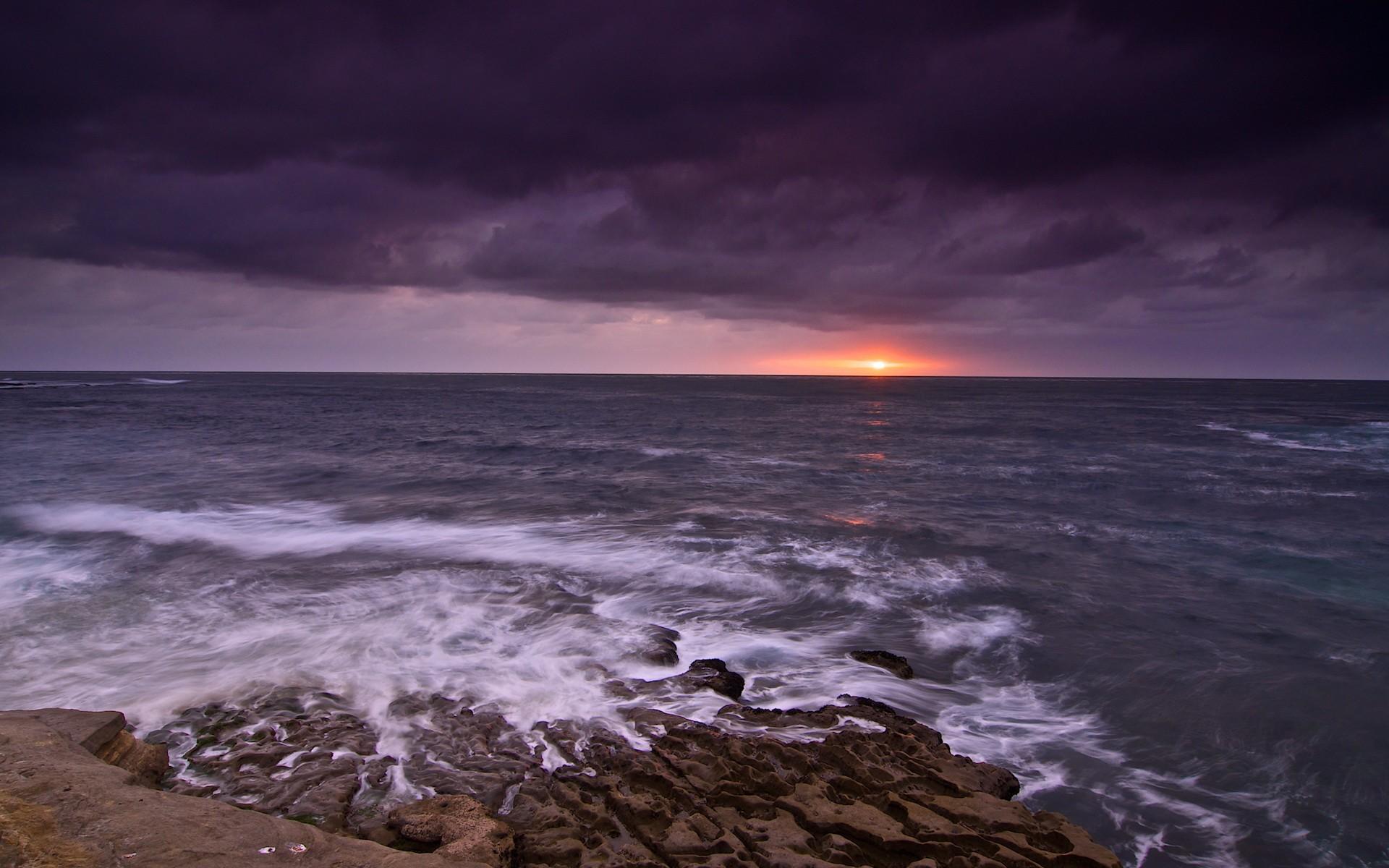 закат над бушующим морем  № 602828 бесплатно