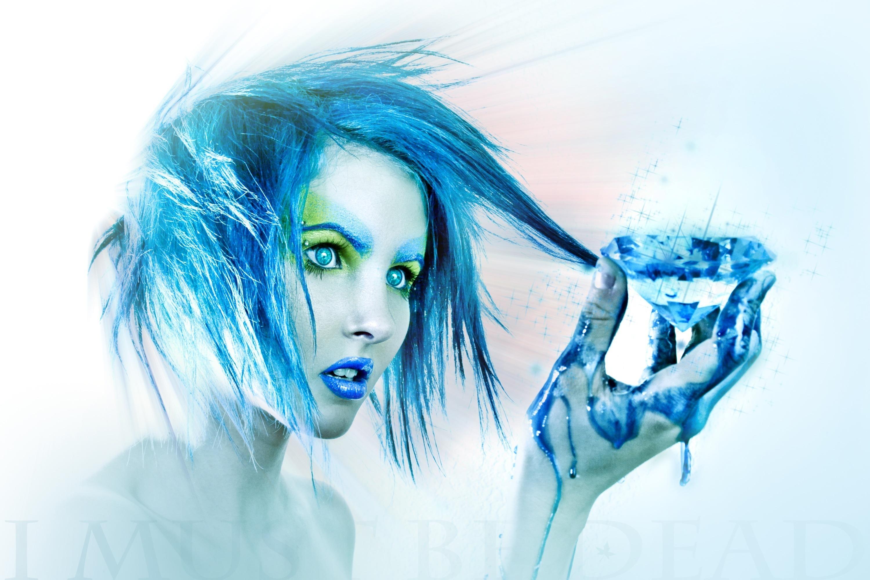 Девушка, голубой стиль скачать
