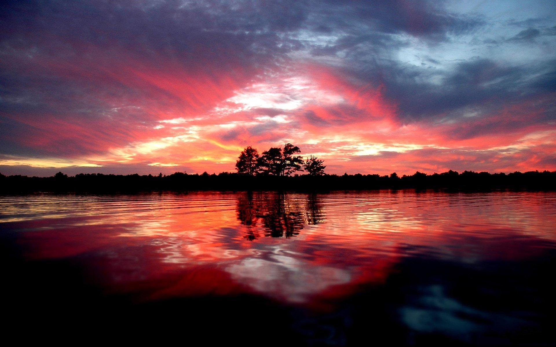природа отражение вечер деревья корабли бесплатно
