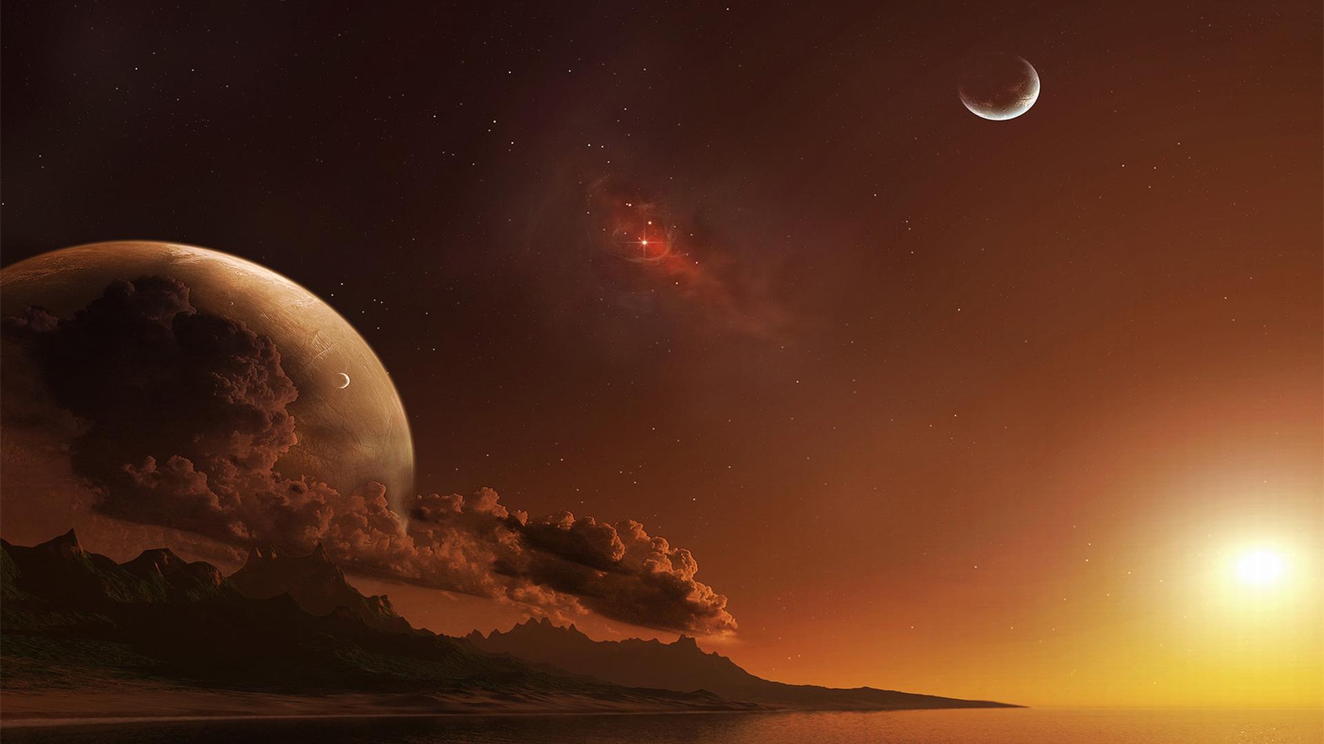 Побережье на фоне других планет скачать