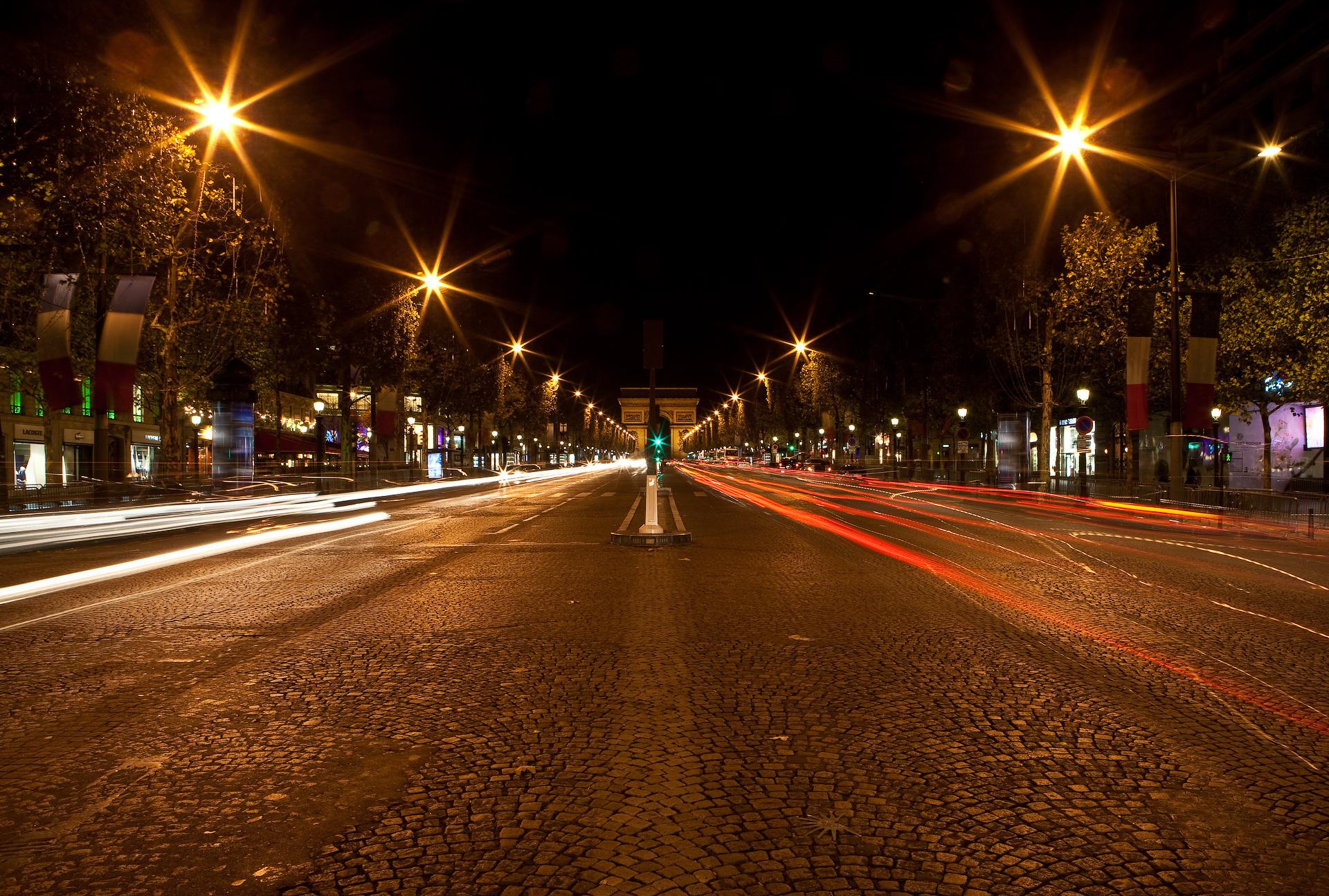 Франция дороги ночь фонари  № 2229321 бесплатно