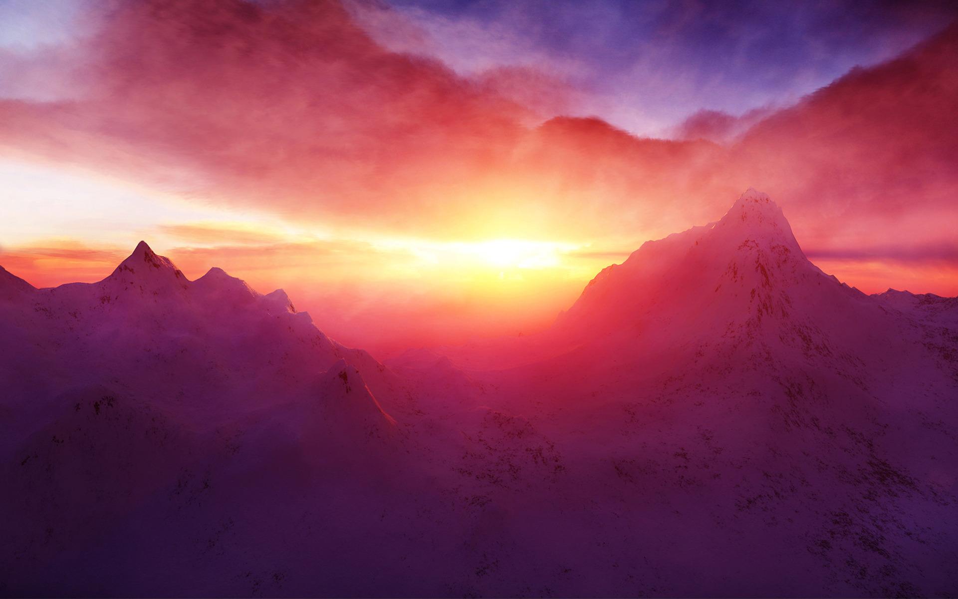 горы на рассвете без смс