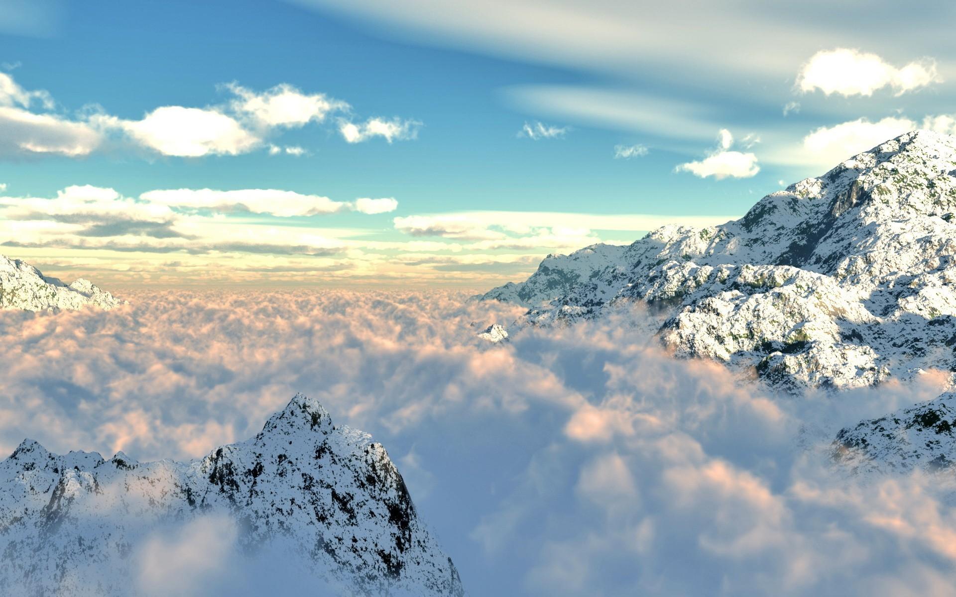 Низкие облака у горы бесплатно