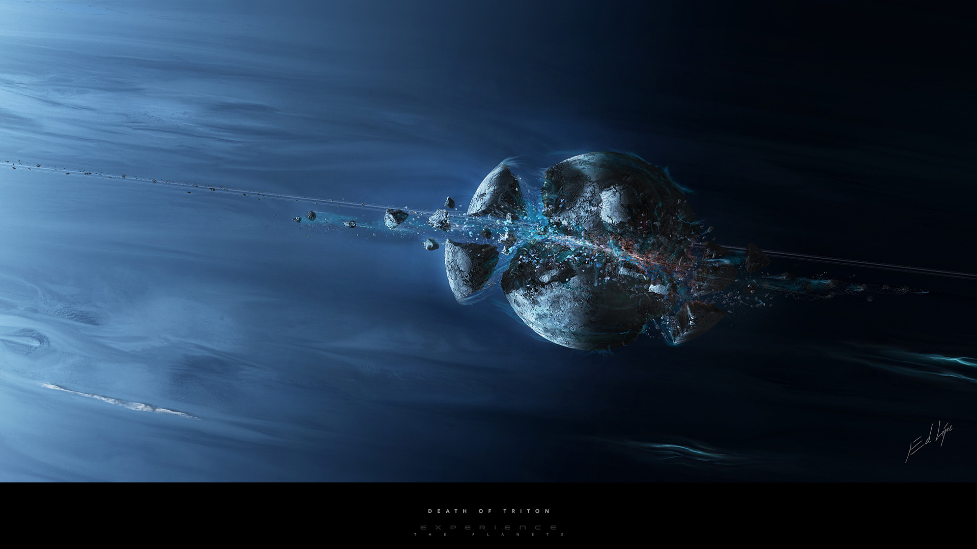 Обои Разрушенная планета, корабль картинки на рабочий стол на тему Космос - скачать загрузить