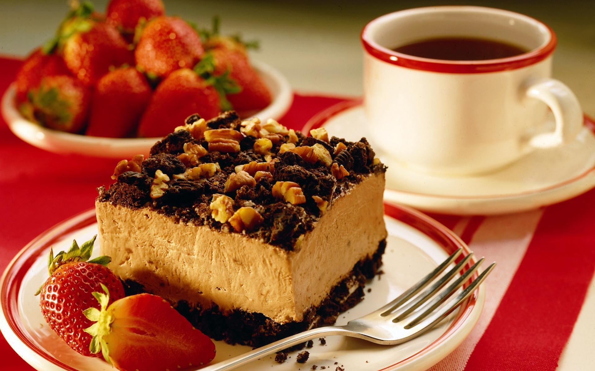 Пироженое с клюбникой и с чаем  № 2153789 без смс