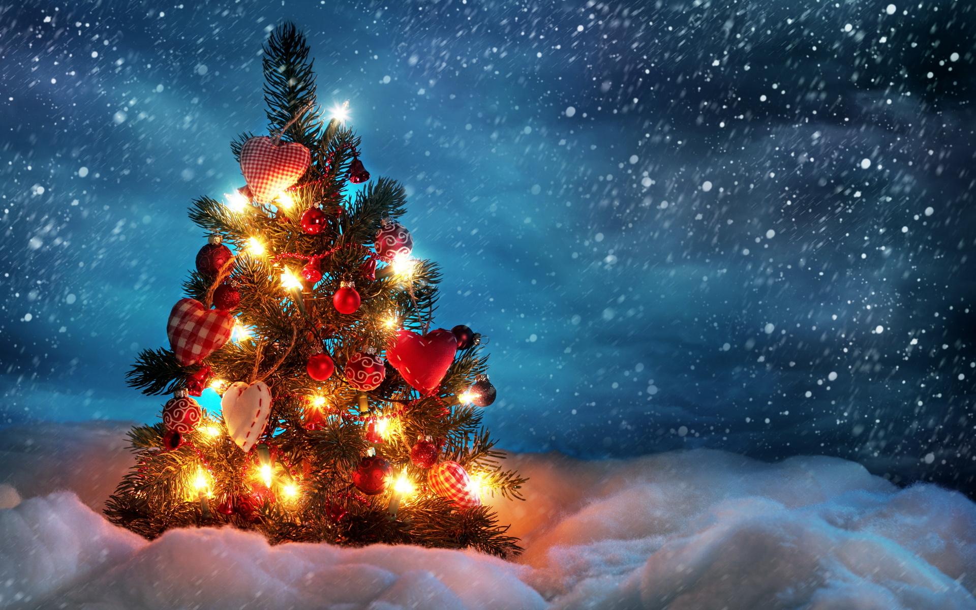 Новогодняя открытки с елкой