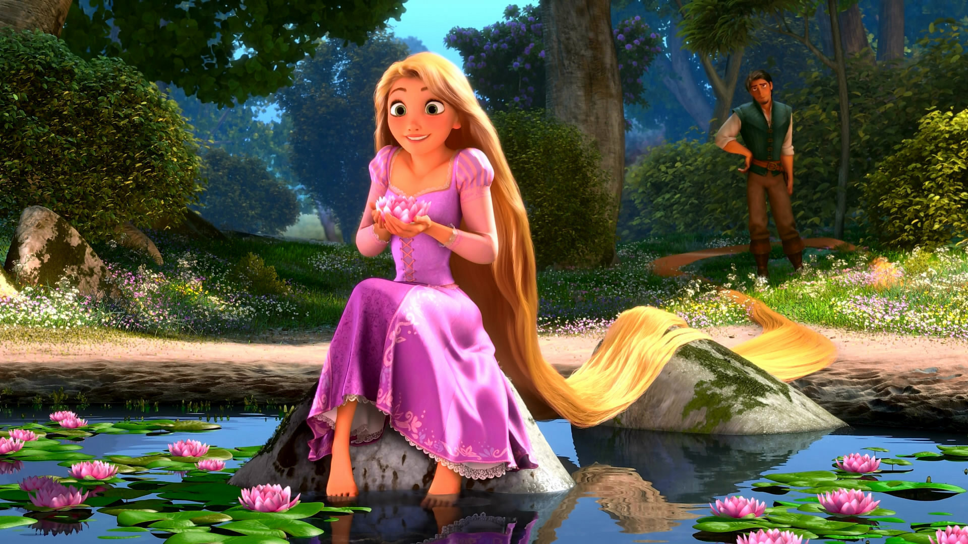 tangled and repunzel Rapunzel is one of the two main characters in the movie tangled and in the short film tangled ever after she had long blonde hair until it was cut, and then she had brown hair she is voiced by mandy moore and she is the tenth official disney princess in the line-up.