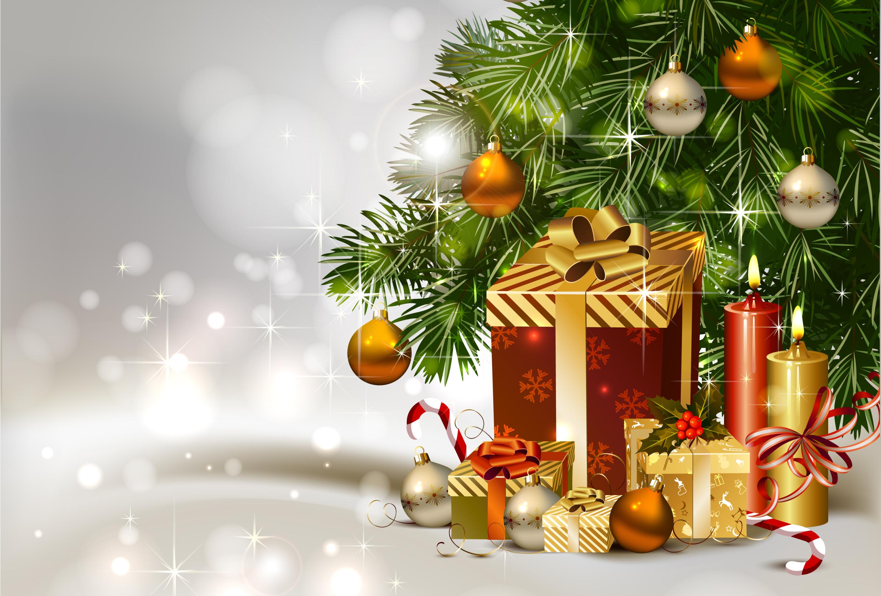 Открытка на новый год с подарками