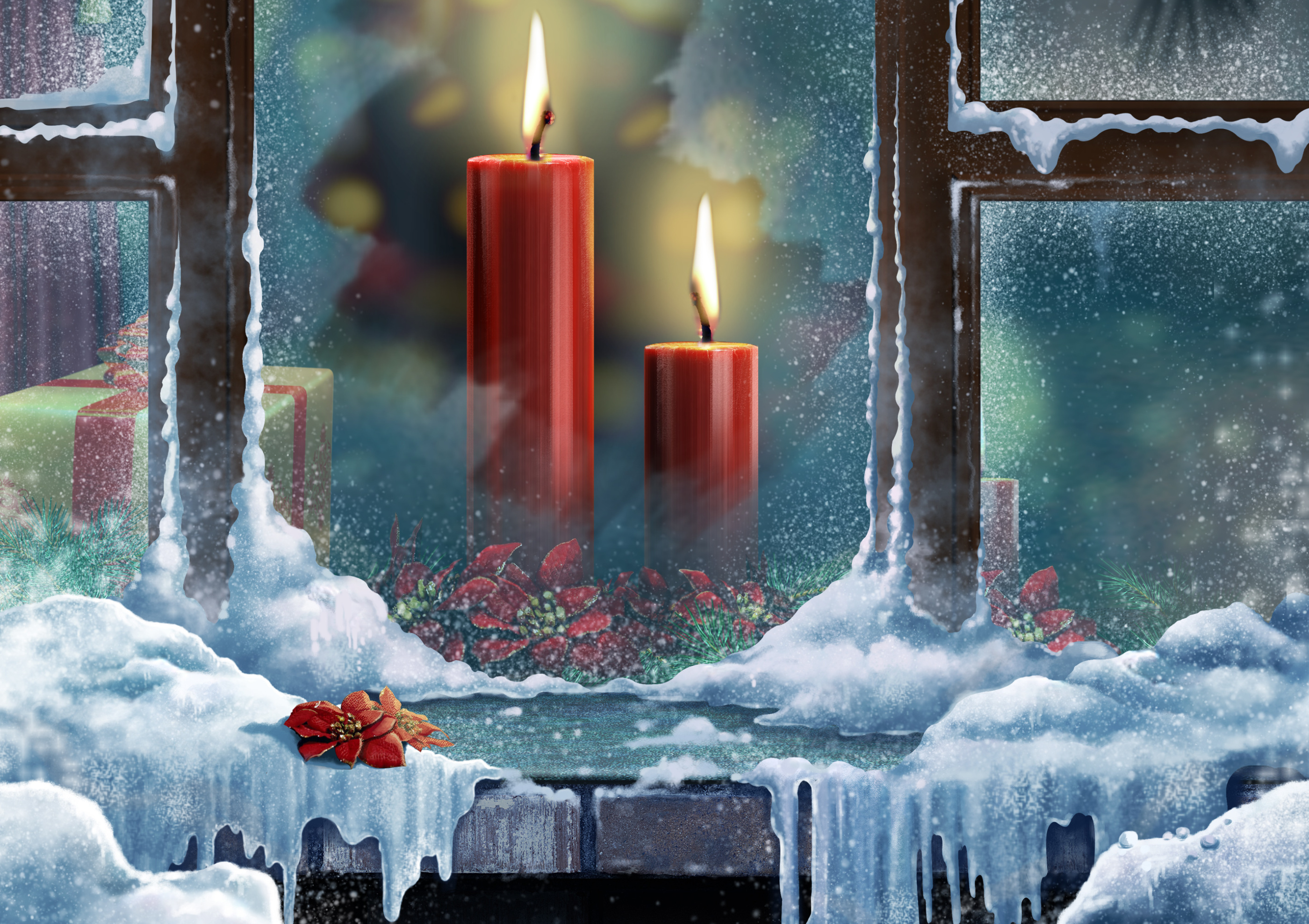 Свидания, свеча на окне открытка