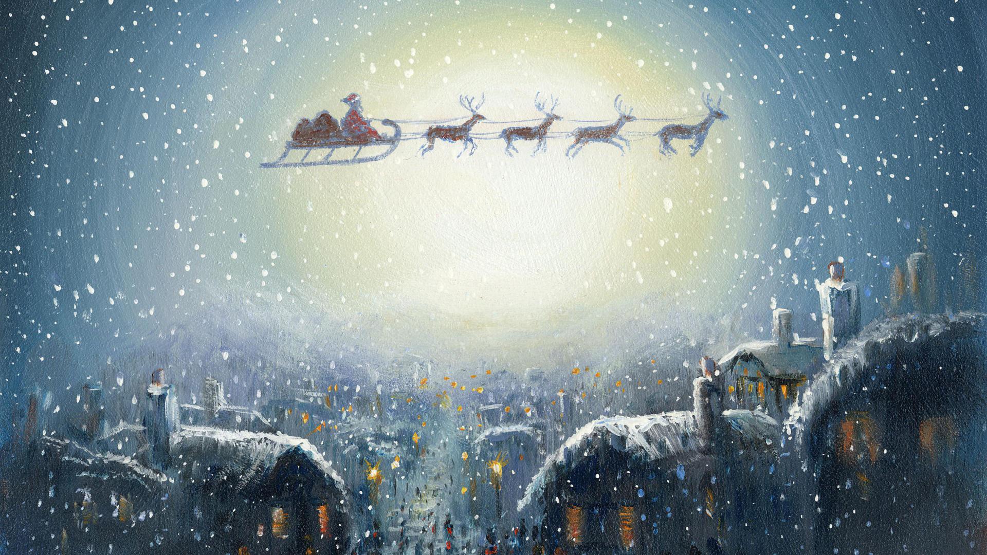 Новогодняя открытка панорама, днем мвд