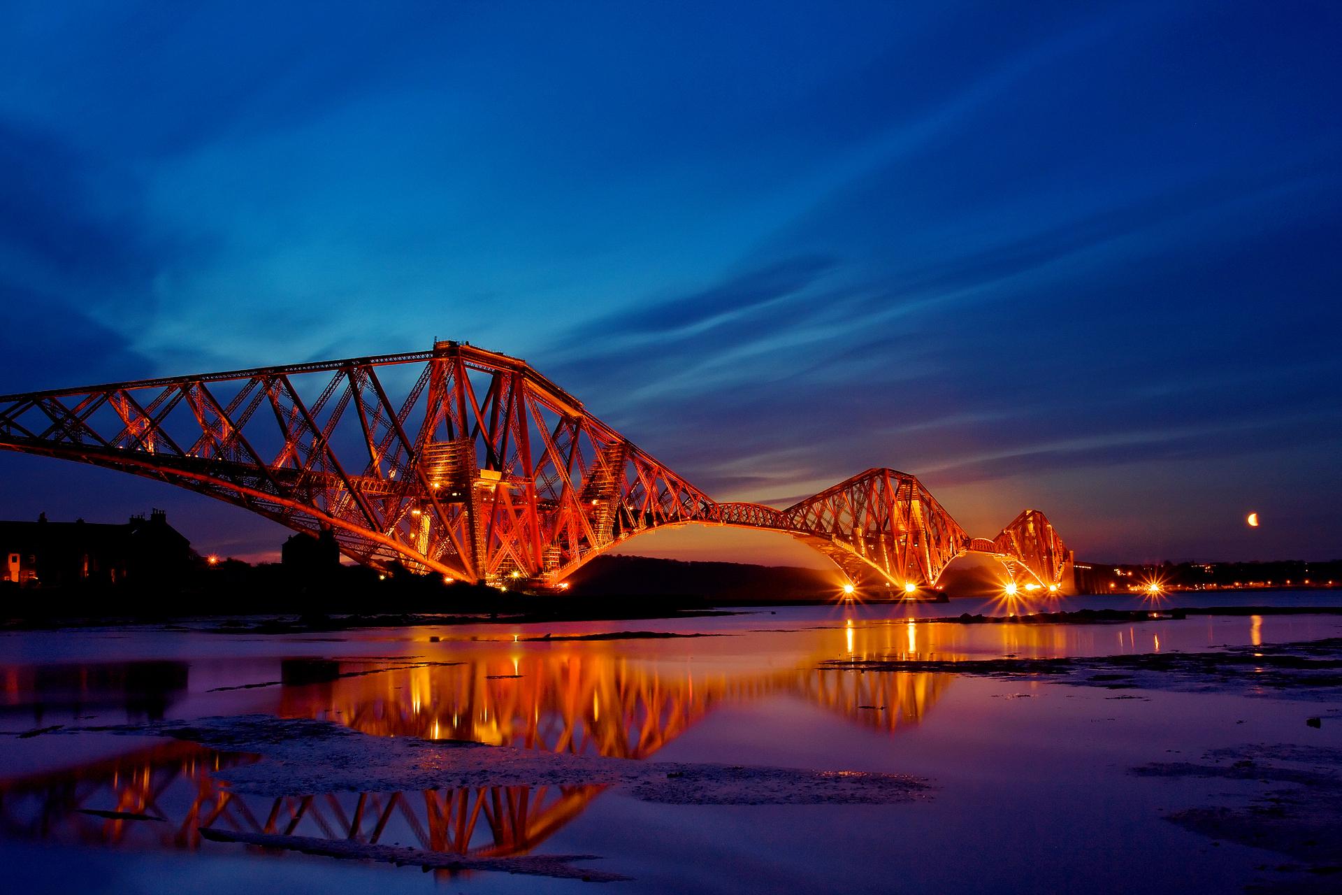 природа страны архитектура ночь река город мост  № 806776 загрузить