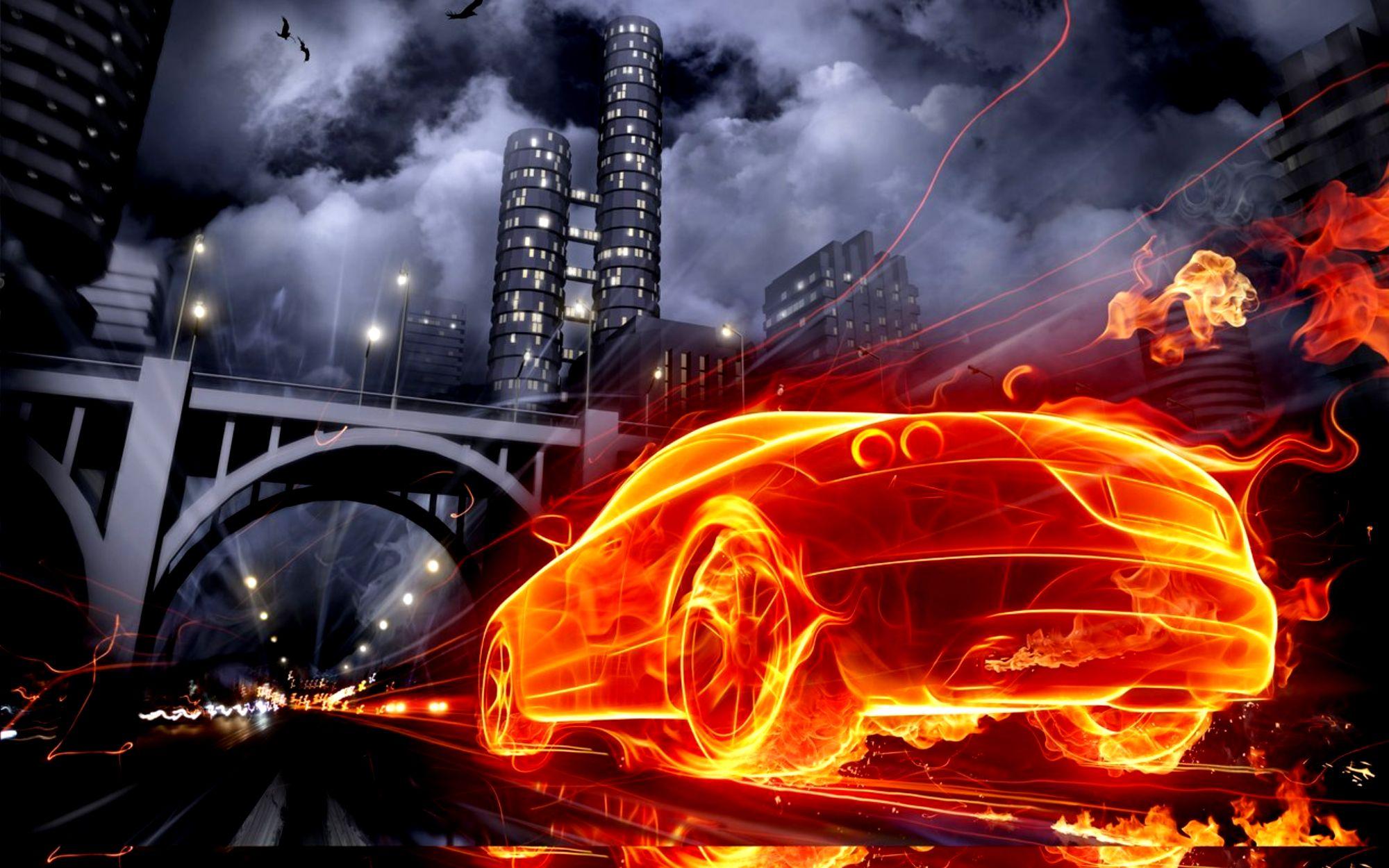 Крутые картинки машин с огнем