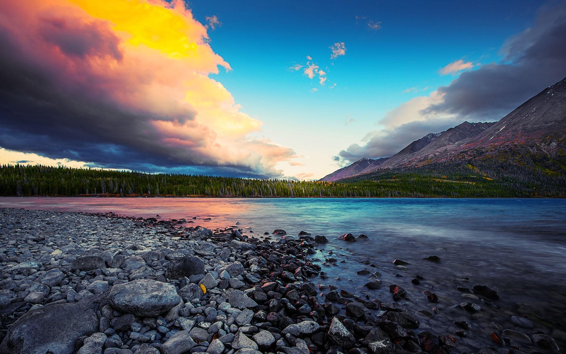 природа горы небо облака река деревья nature mountains the sky clouds river trees  № 1223838 бесплатно