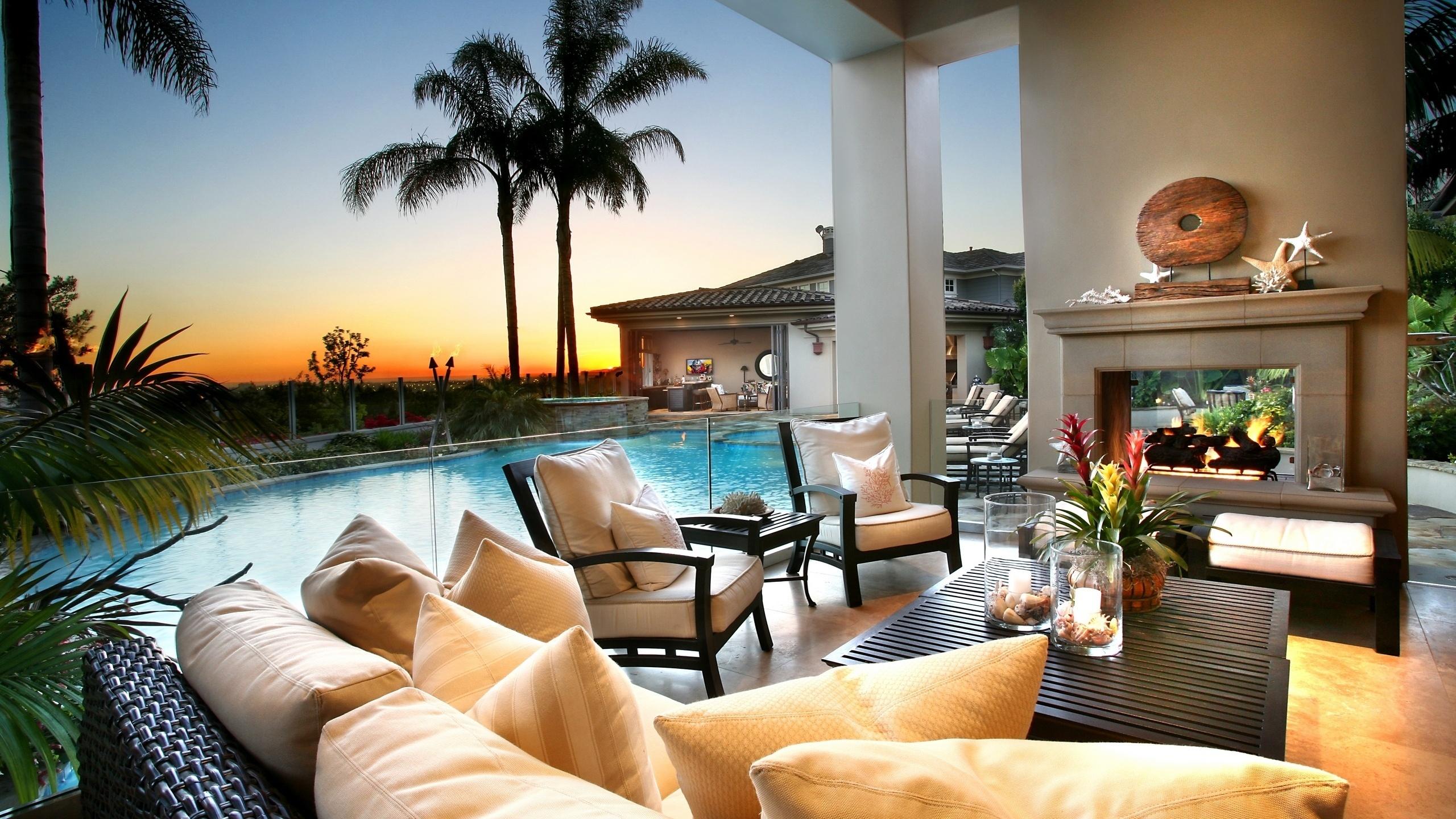 Скачать обои интерьер, пальмы, бассейн, тропики, фазенда раз.